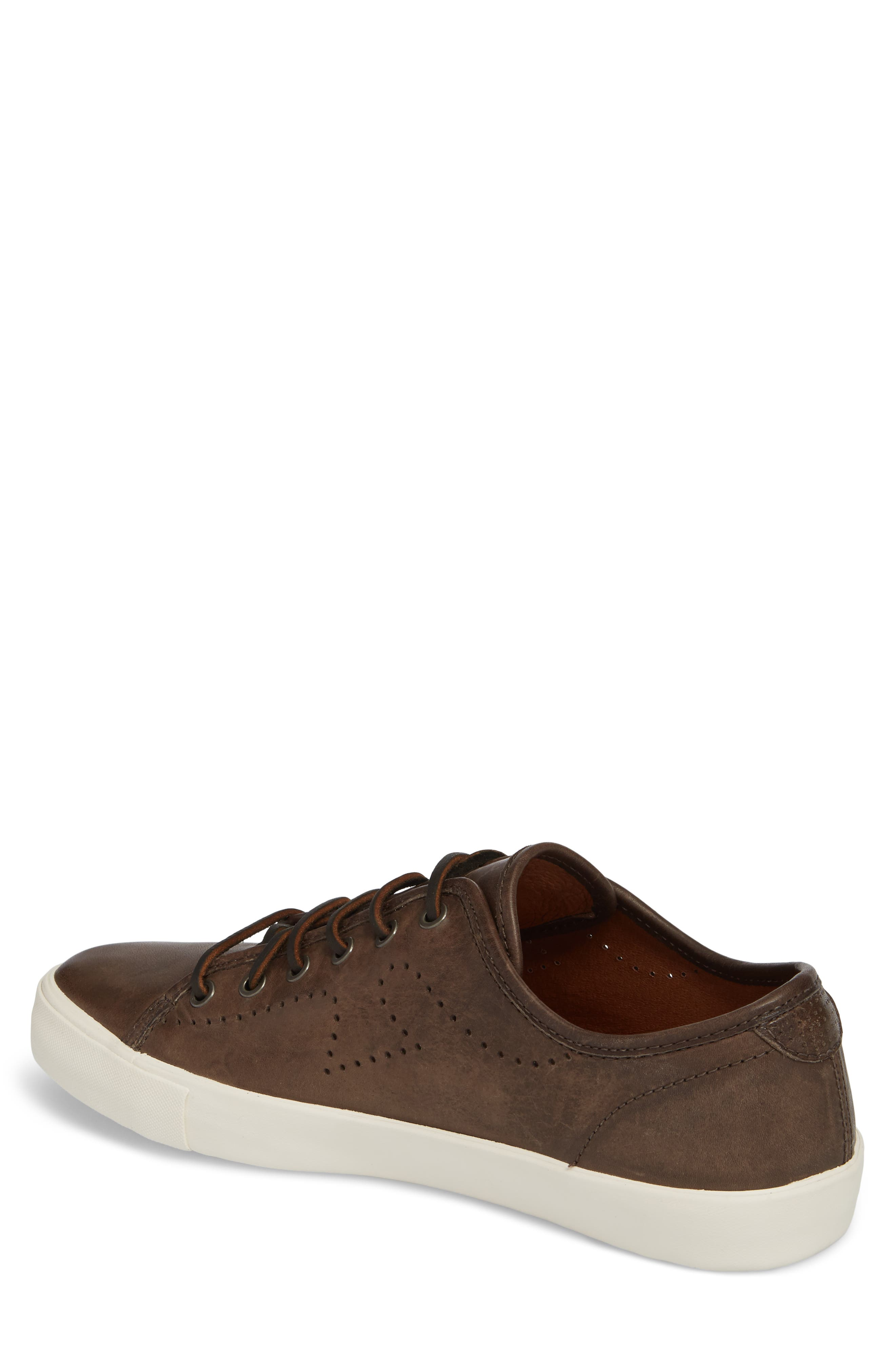 Brett Perforated Logo Low Top Sneaker,                             Alternate thumbnail 2, color,                             Slate Leather