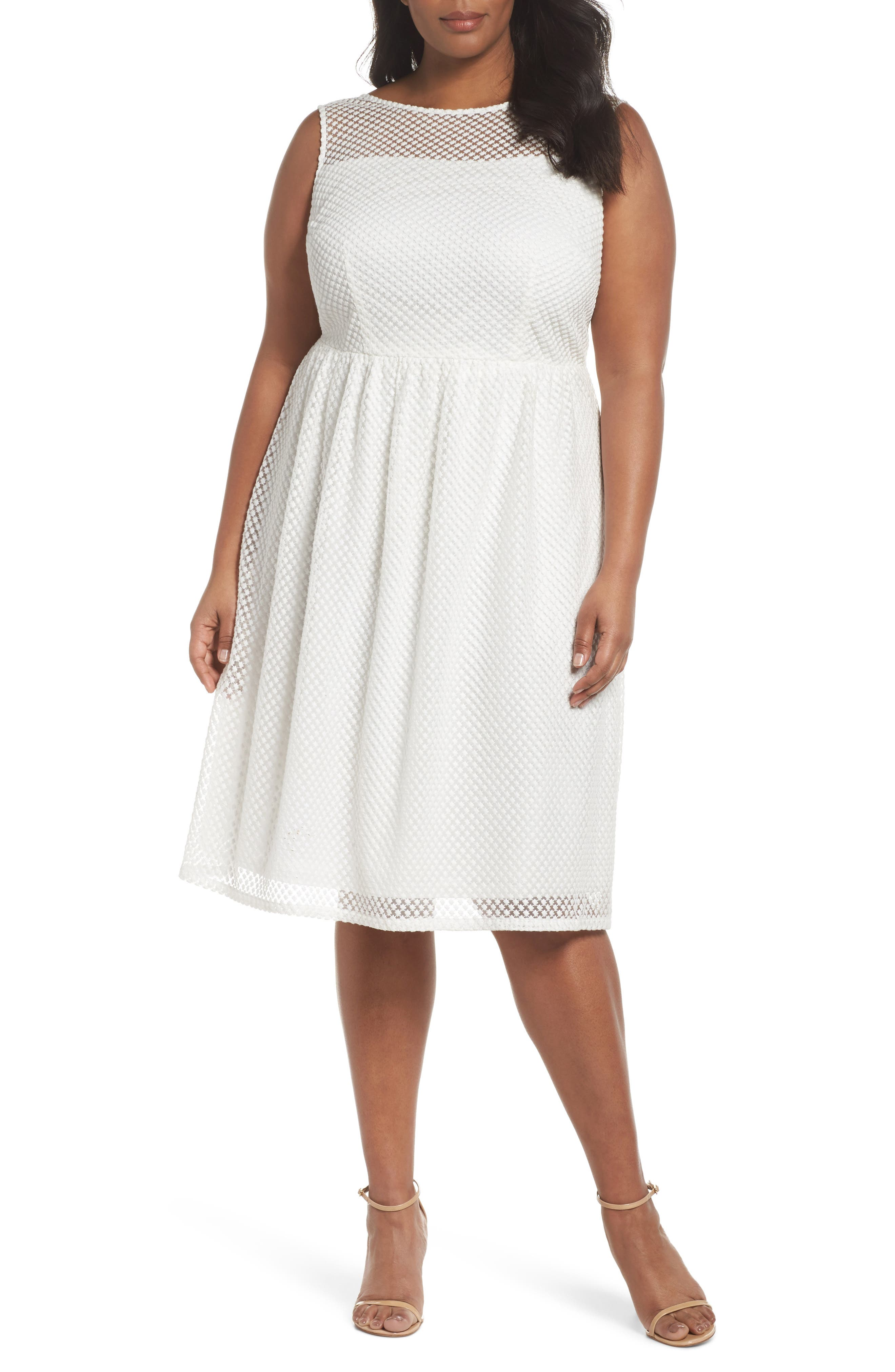 Adrianne Papell Diamond Embroidered Fit & Flare Dress,                         Main,                         color, Ivory