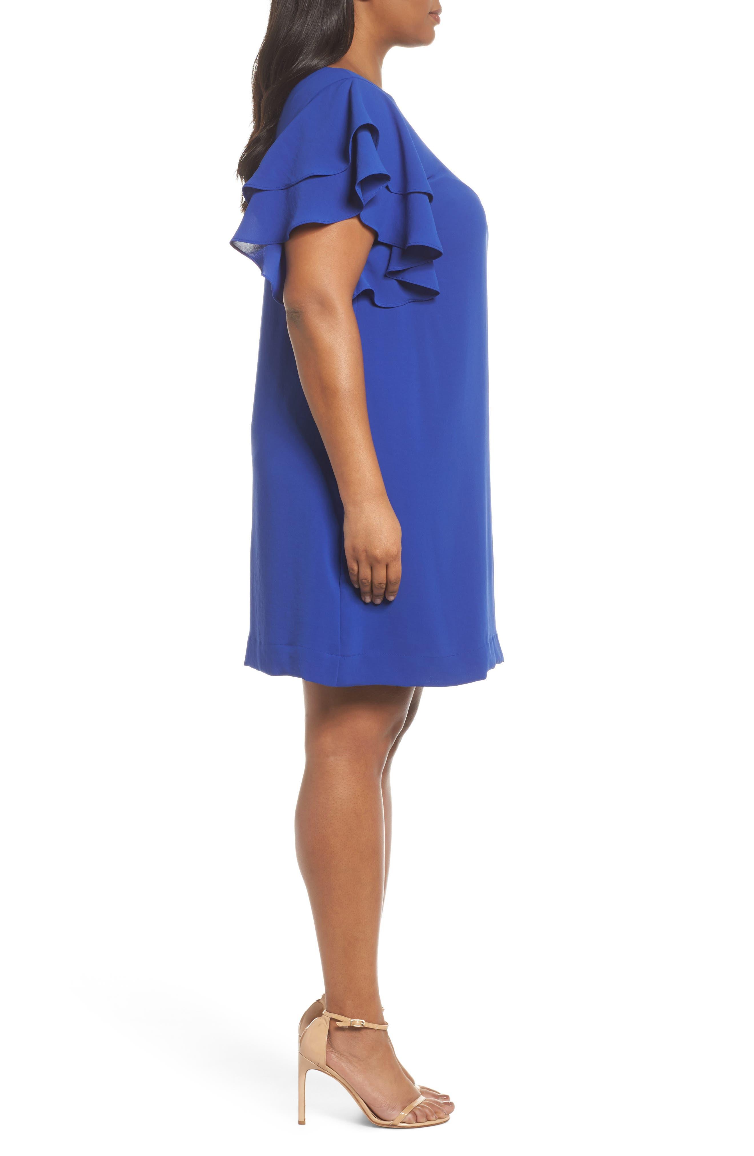 Ruffle Sleeve Crepe Shift Dress,                             Alternate thumbnail 3, color,                             Cool Violet