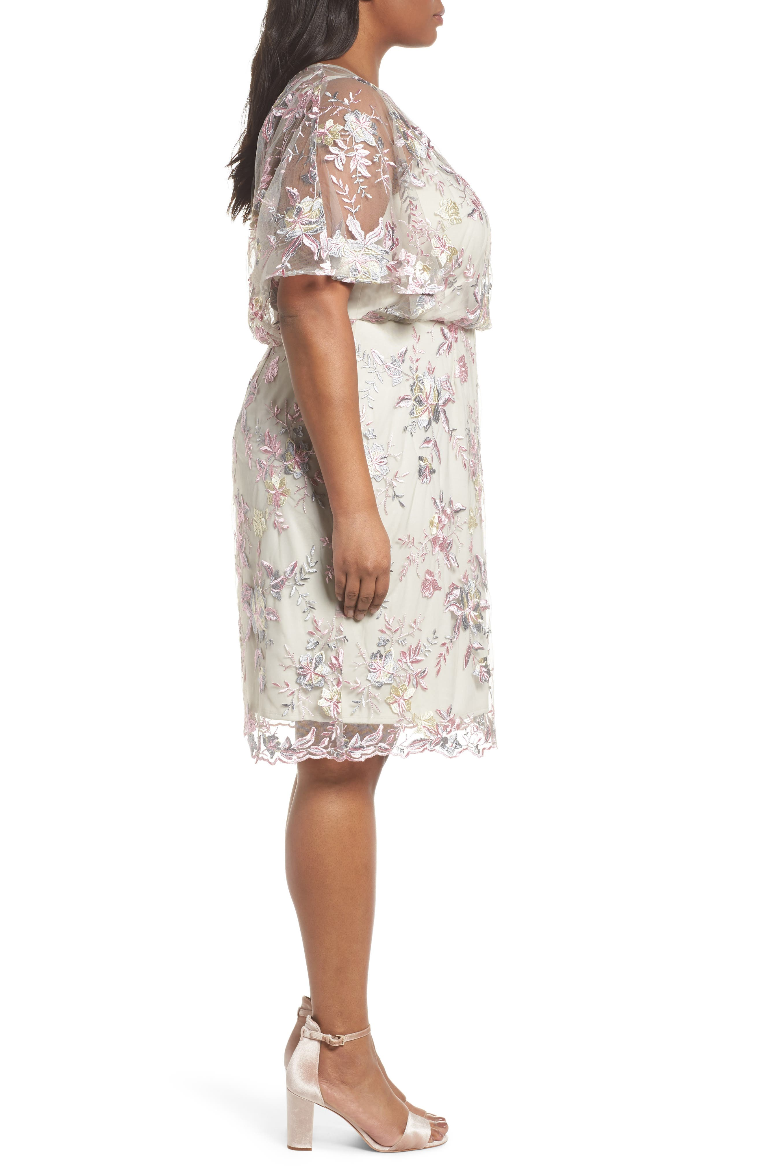 Embroidered Blouson Dress,                             Alternate thumbnail 3, color,                             Pink/ Nude