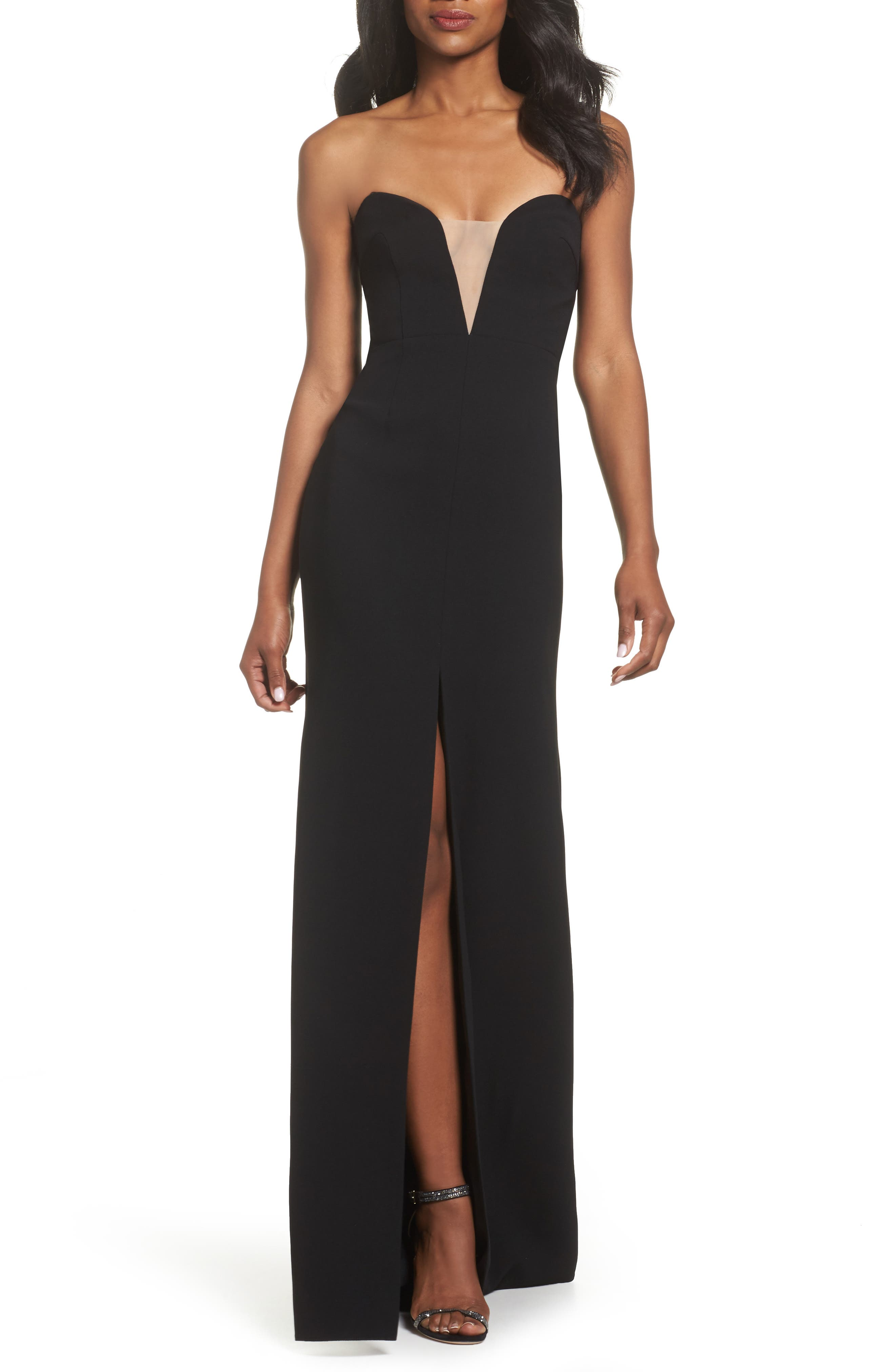 Illusion Inset Strapless Gown,                         Main,                         color, Black