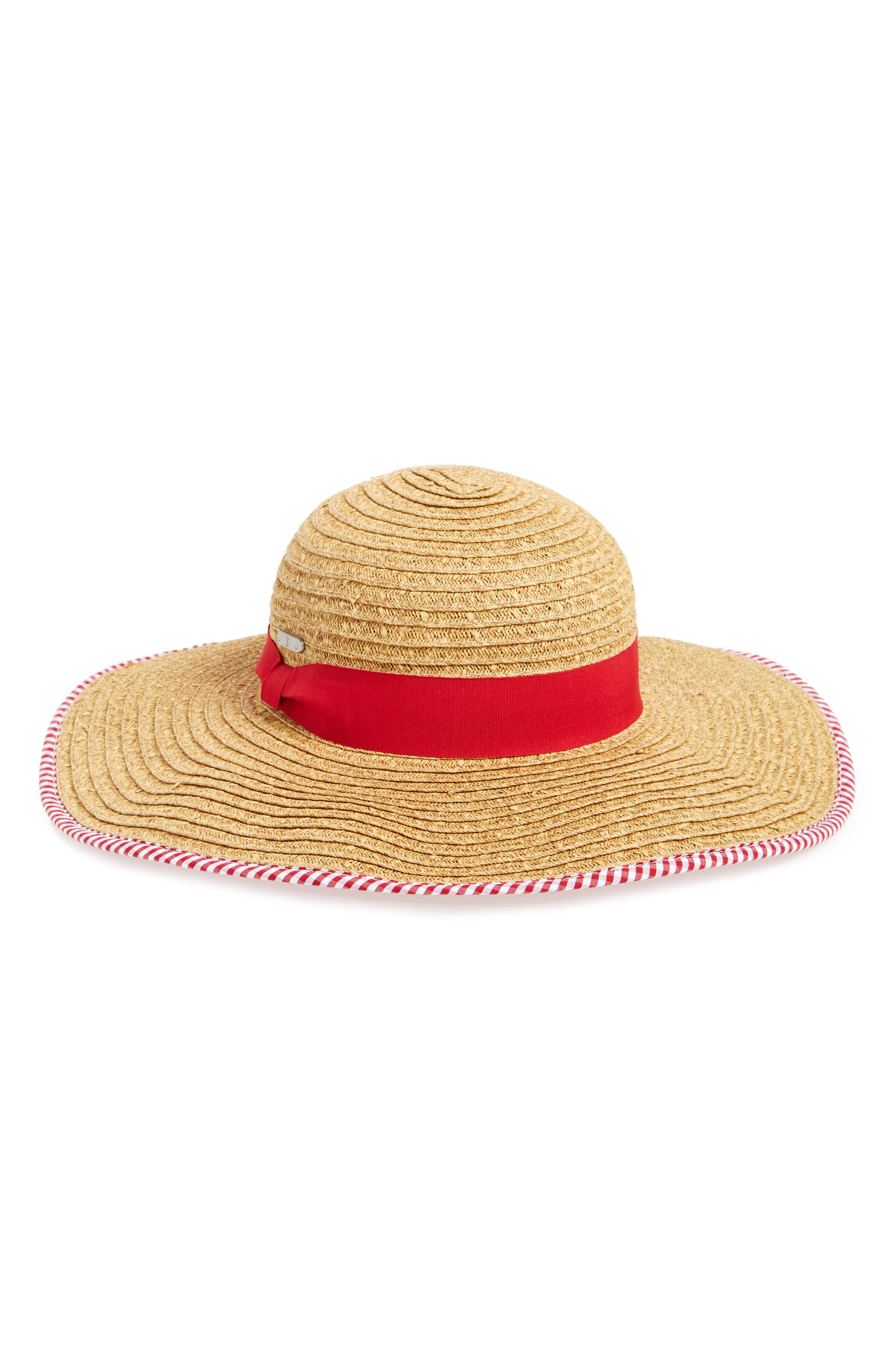 Floppy Straw Hat,                             Main thumbnail 1, color,                             Red