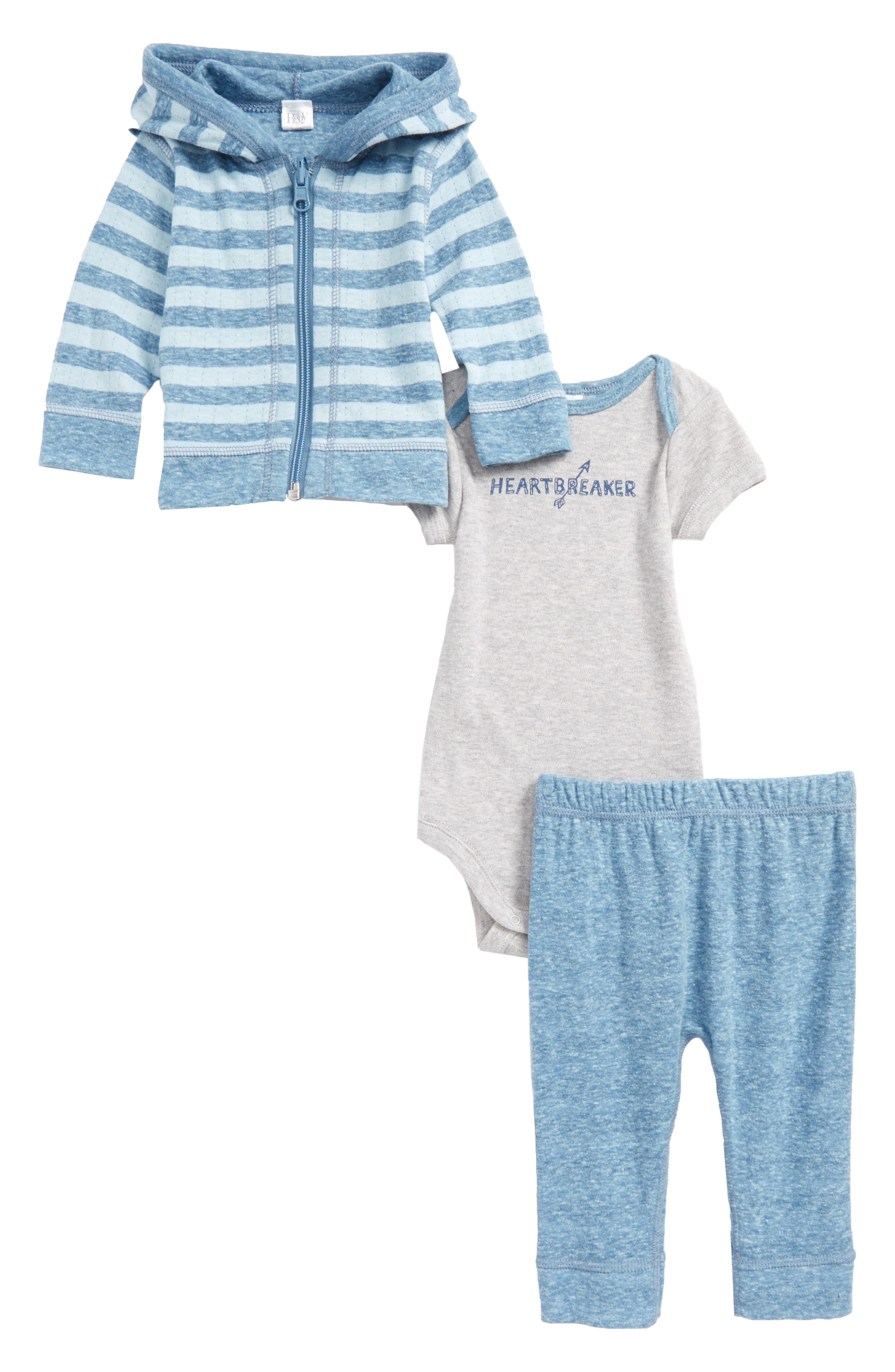 Reversible Zip Hoodie, Bodysuit & Pants Set,                             Main thumbnail 1, color,                             Blue Dark- Ivory Stripe