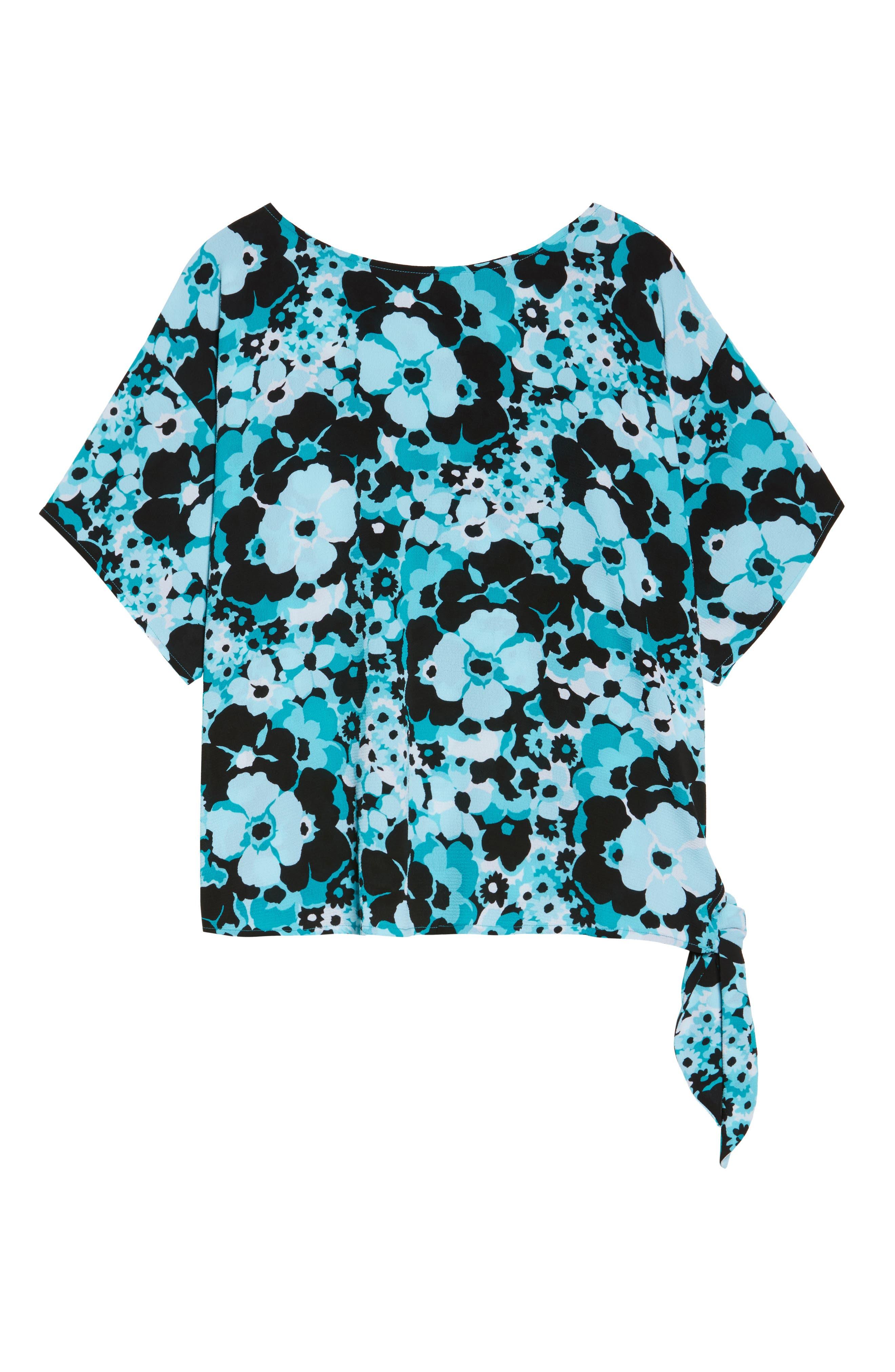 Spring Side Tie Crepe Top,                             Alternate thumbnail 6, color,                             Tile Blue/ Black Multi