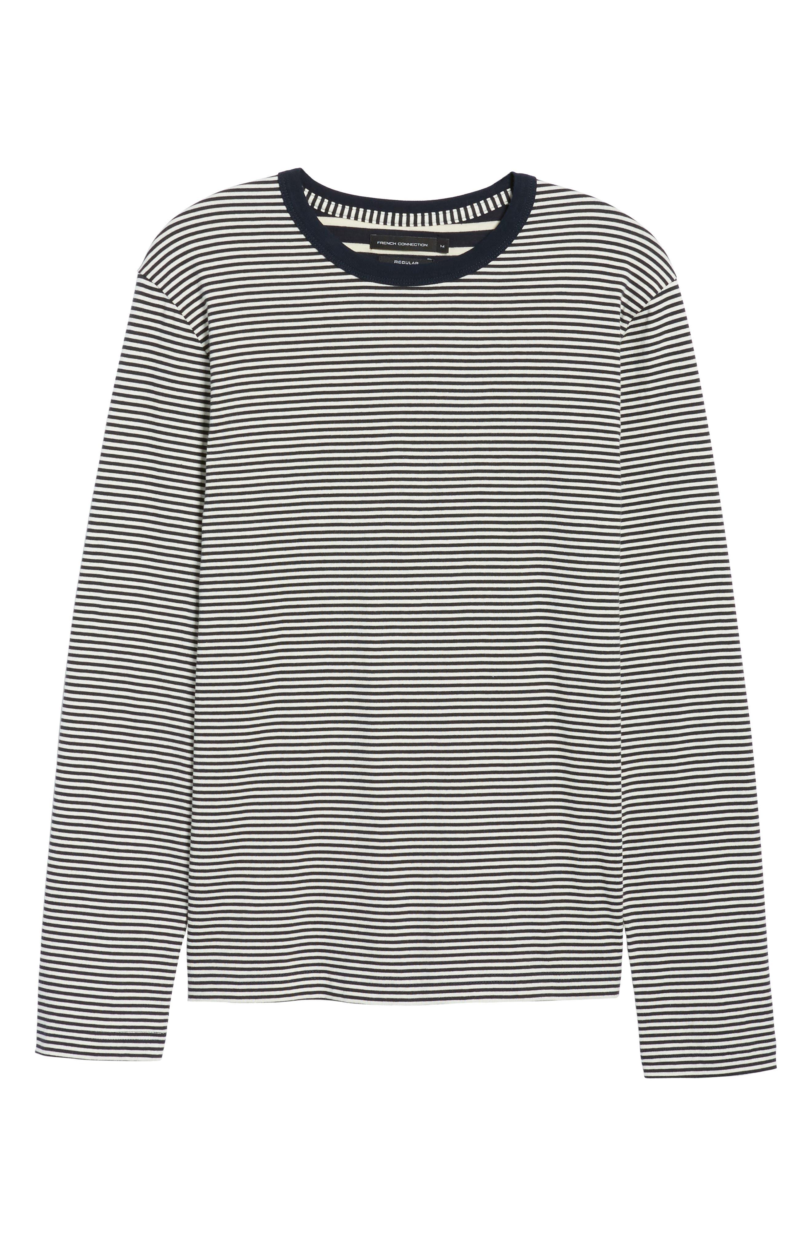 Mix Stripe Long Sleeve T-Shirt,                             Alternate thumbnail 6, color,                             Turtle Dove/ Marine Blue
