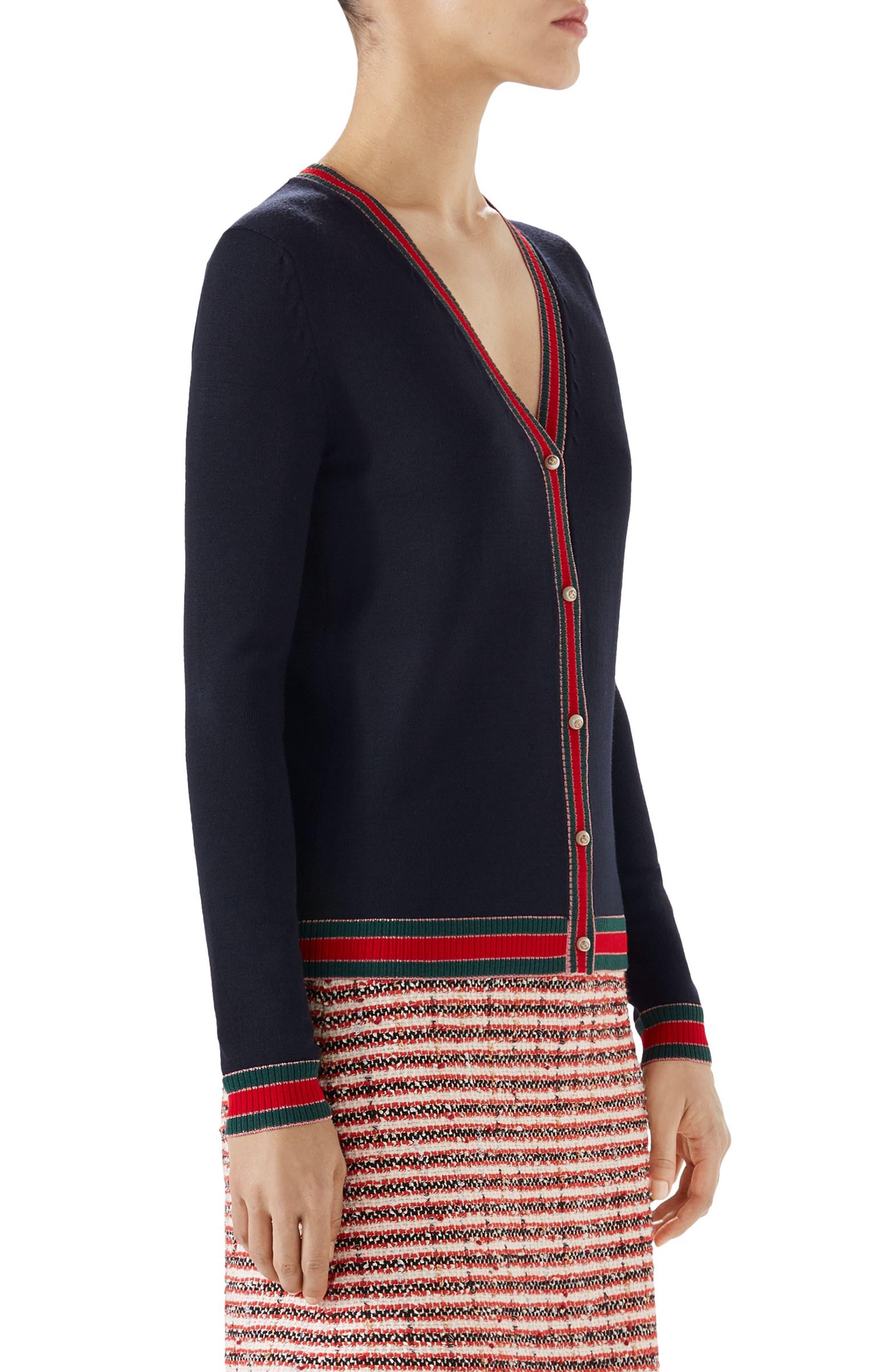 Stripe Trim Wool Cardigan,                             Alternate thumbnail 3, color,                             C Blue/V/R/V/Rose