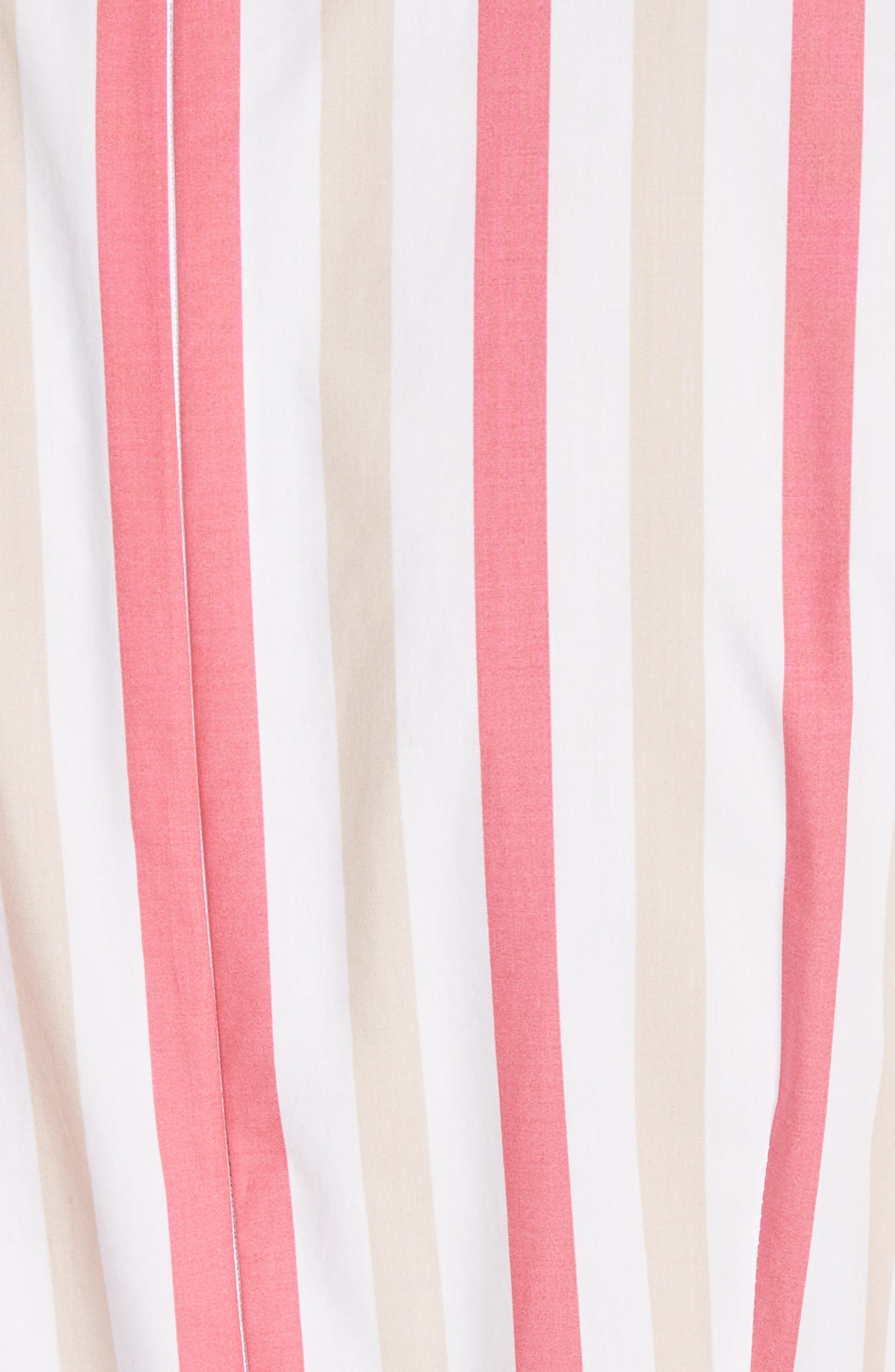 stripe poplin midi dress,                             Alternate thumbnail 5, color,                             Peach Sherbet