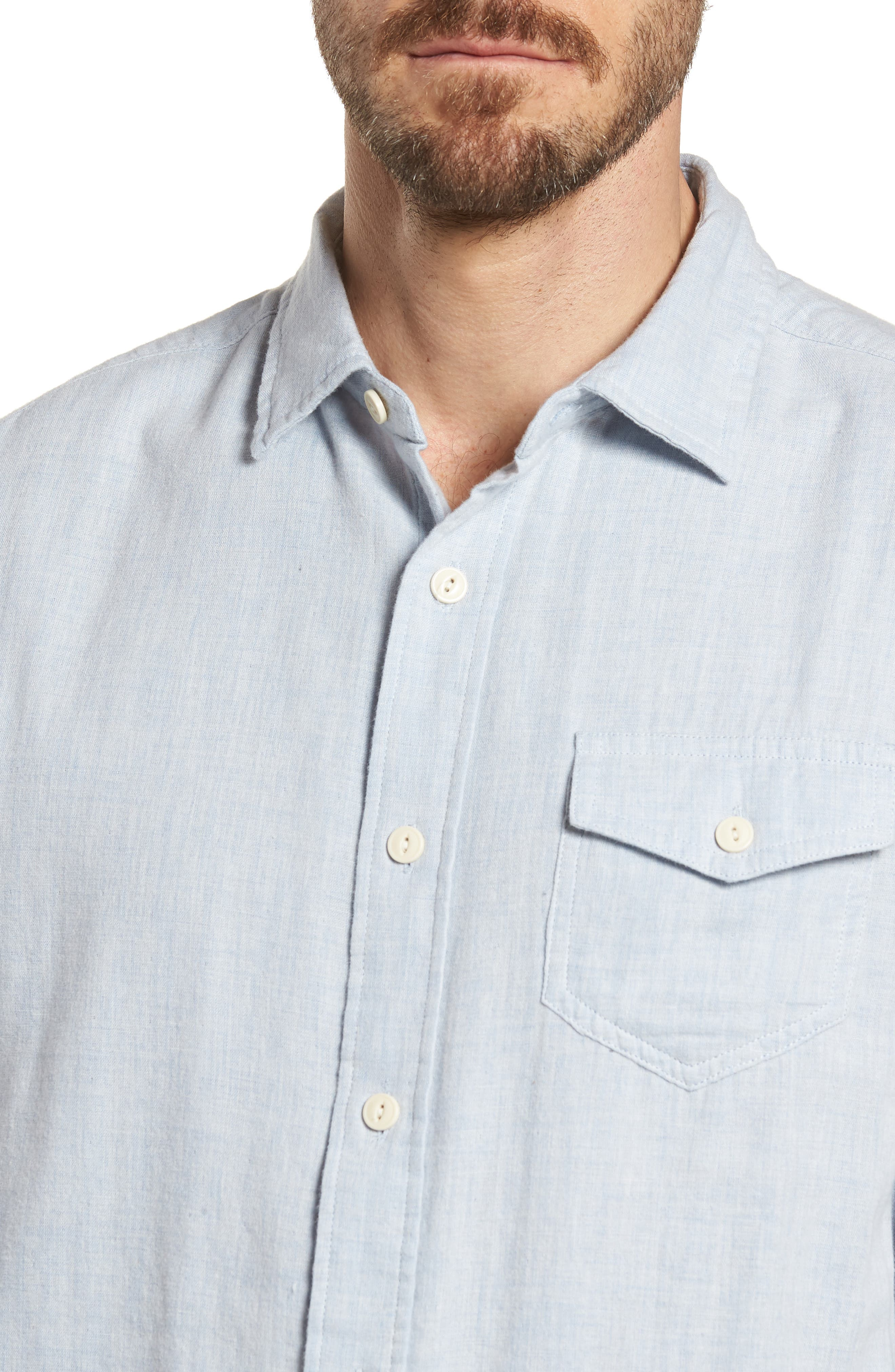 Hammond Slim Fit Sport Shirt,                             Alternate thumbnail 4, color,                             Light Blue Heather