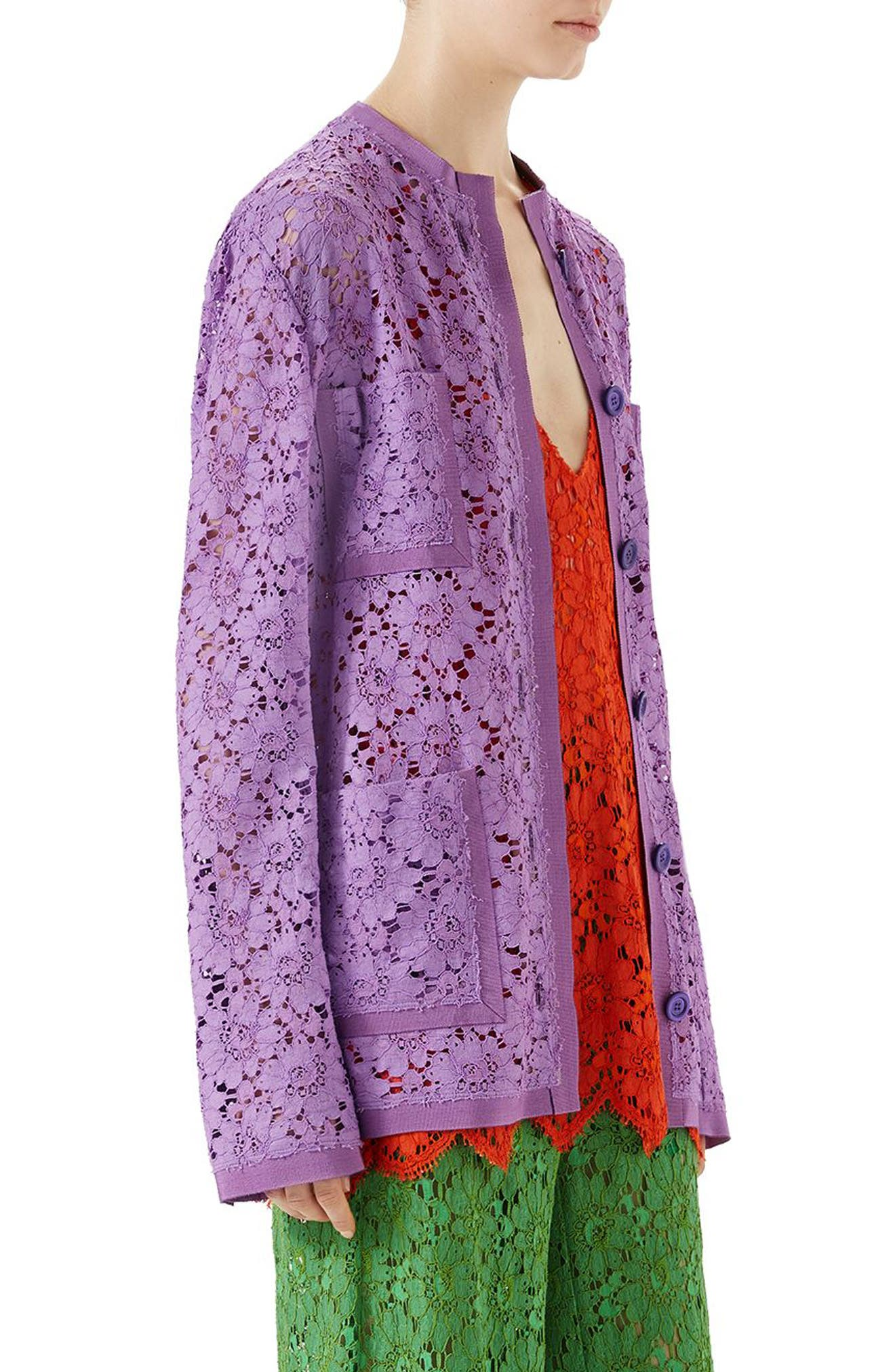Floral Lace Jacket,                             Alternate thumbnail 3, color,                             Wisteria Petal Flower