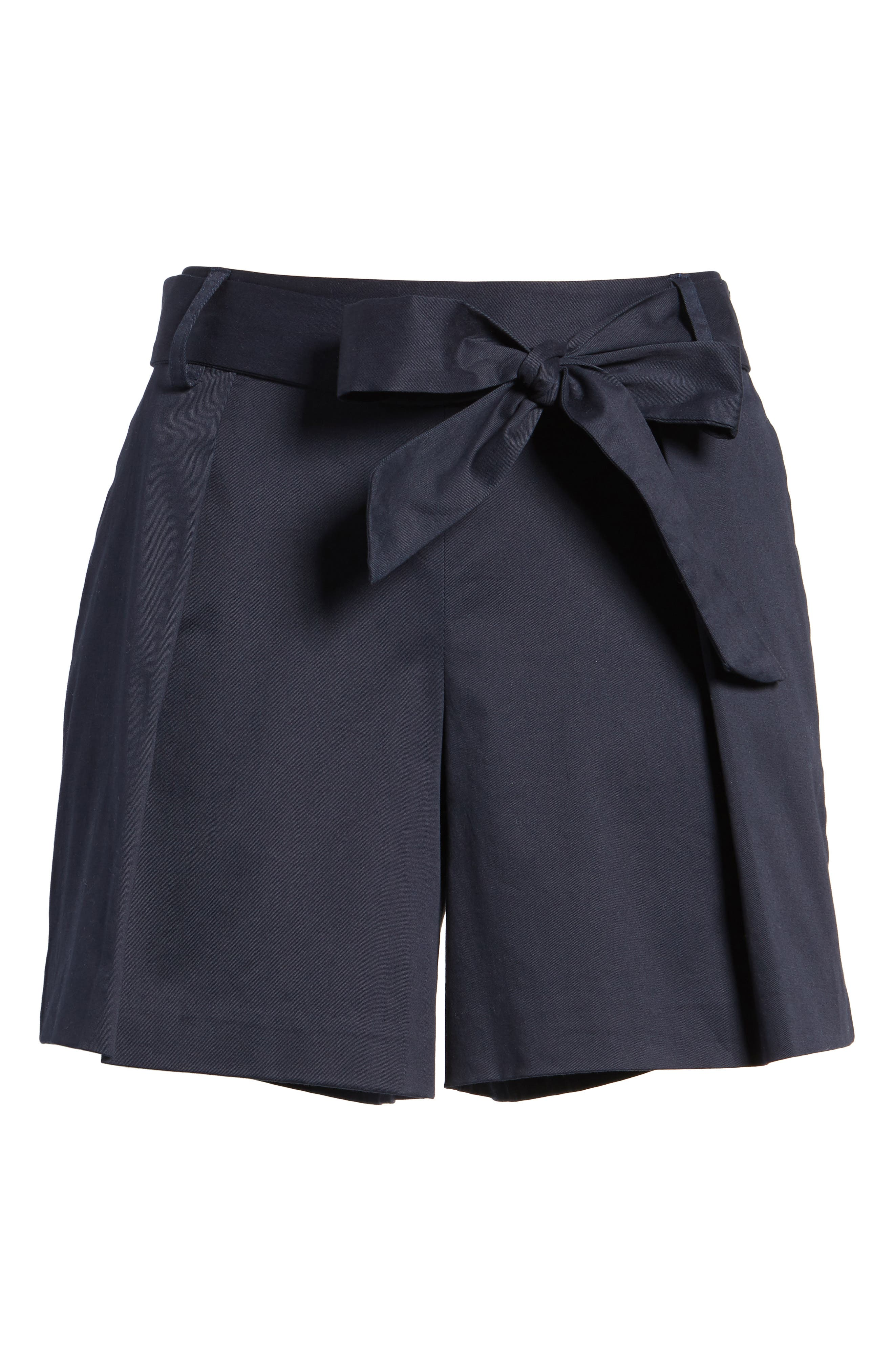 Pleated Twill Bow Front Shorts,                             Alternate thumbnail 6, color,                             Navy Night