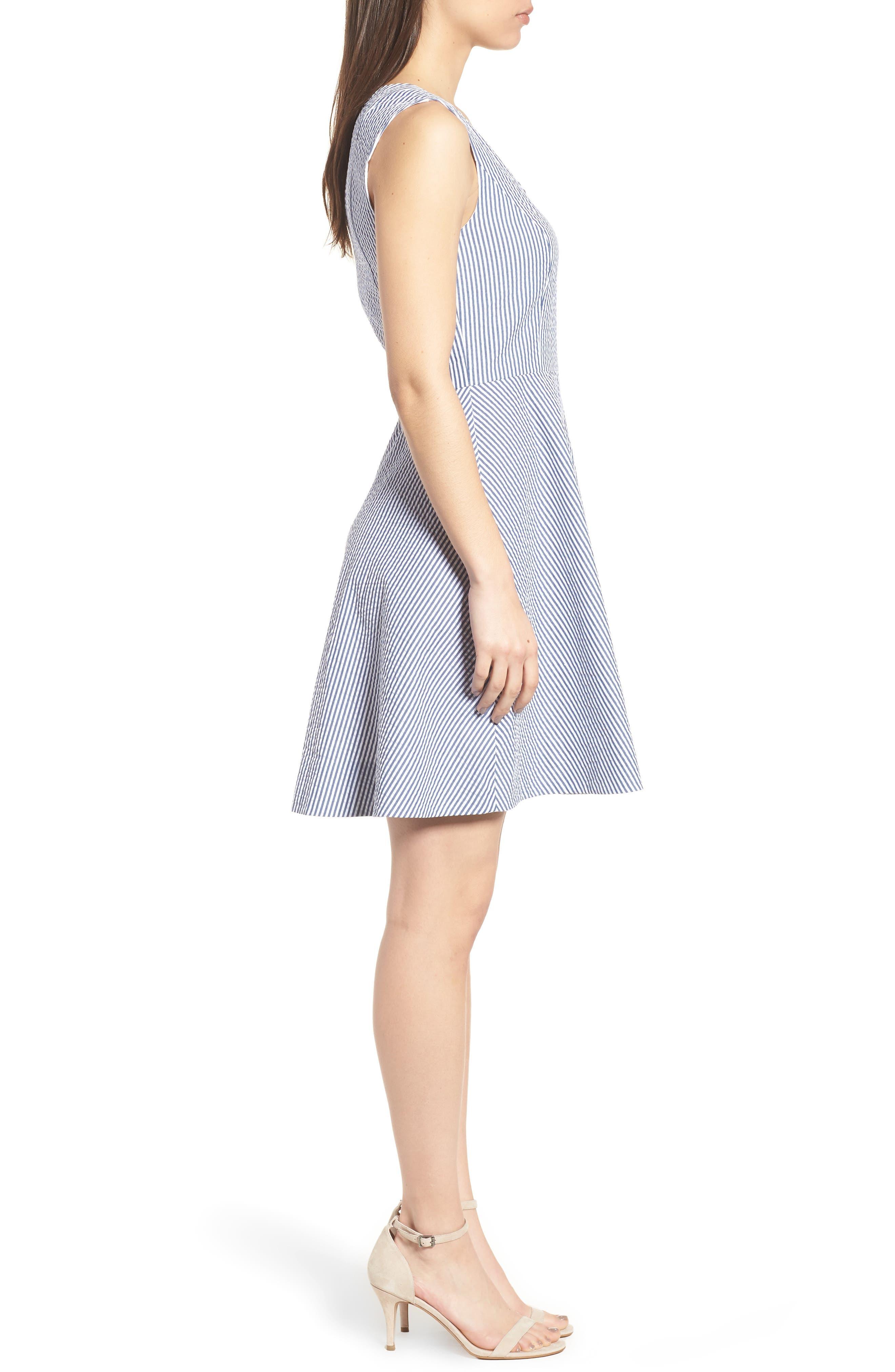 Love Circle Seersucker Stretch Cotton Dress,                             Alternate thumbnail 3, color,                             Navy
