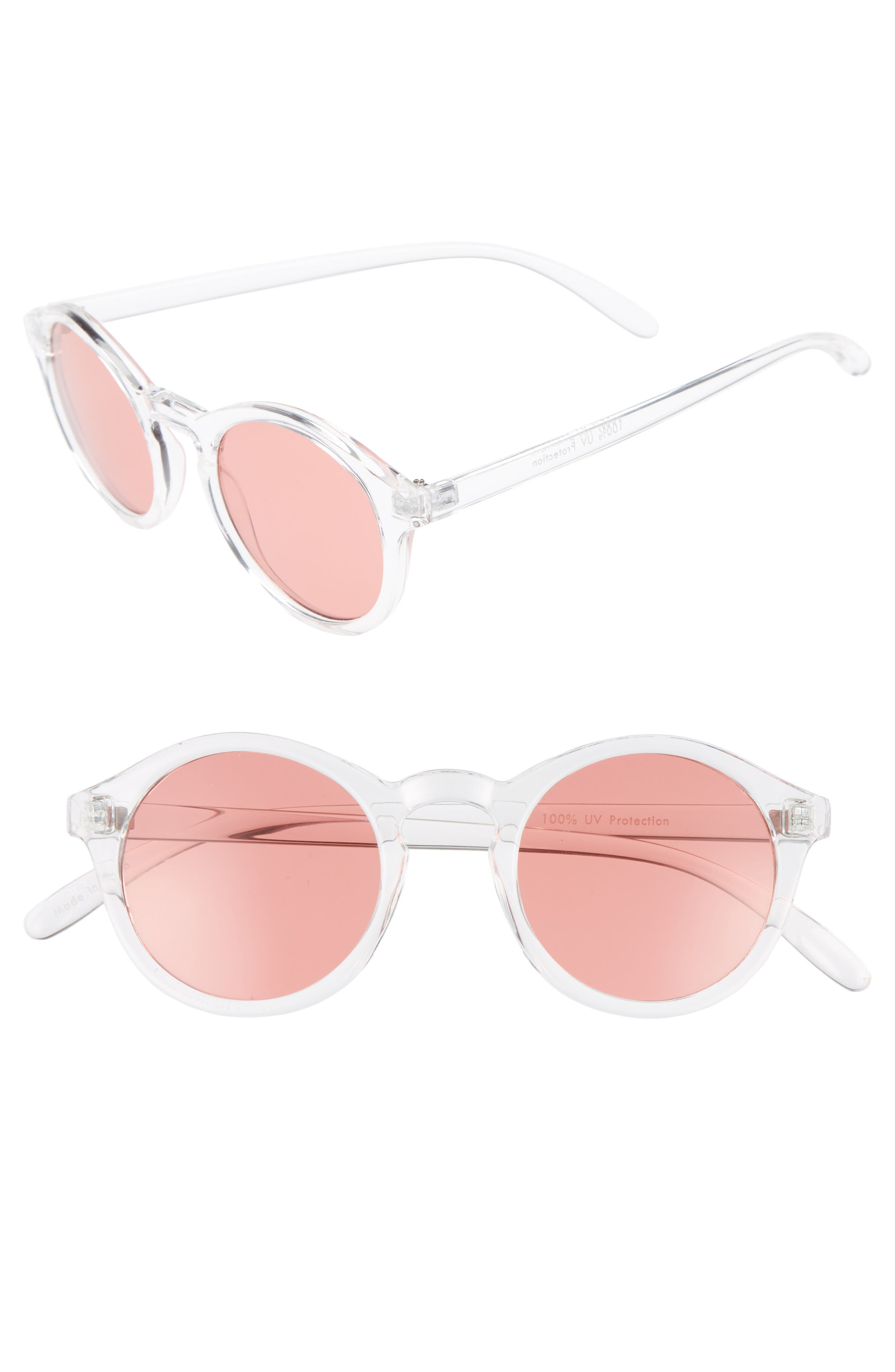 45mm Clear Plastic Small Round Sunglasses,                         Main,                         color, Clear/ Red