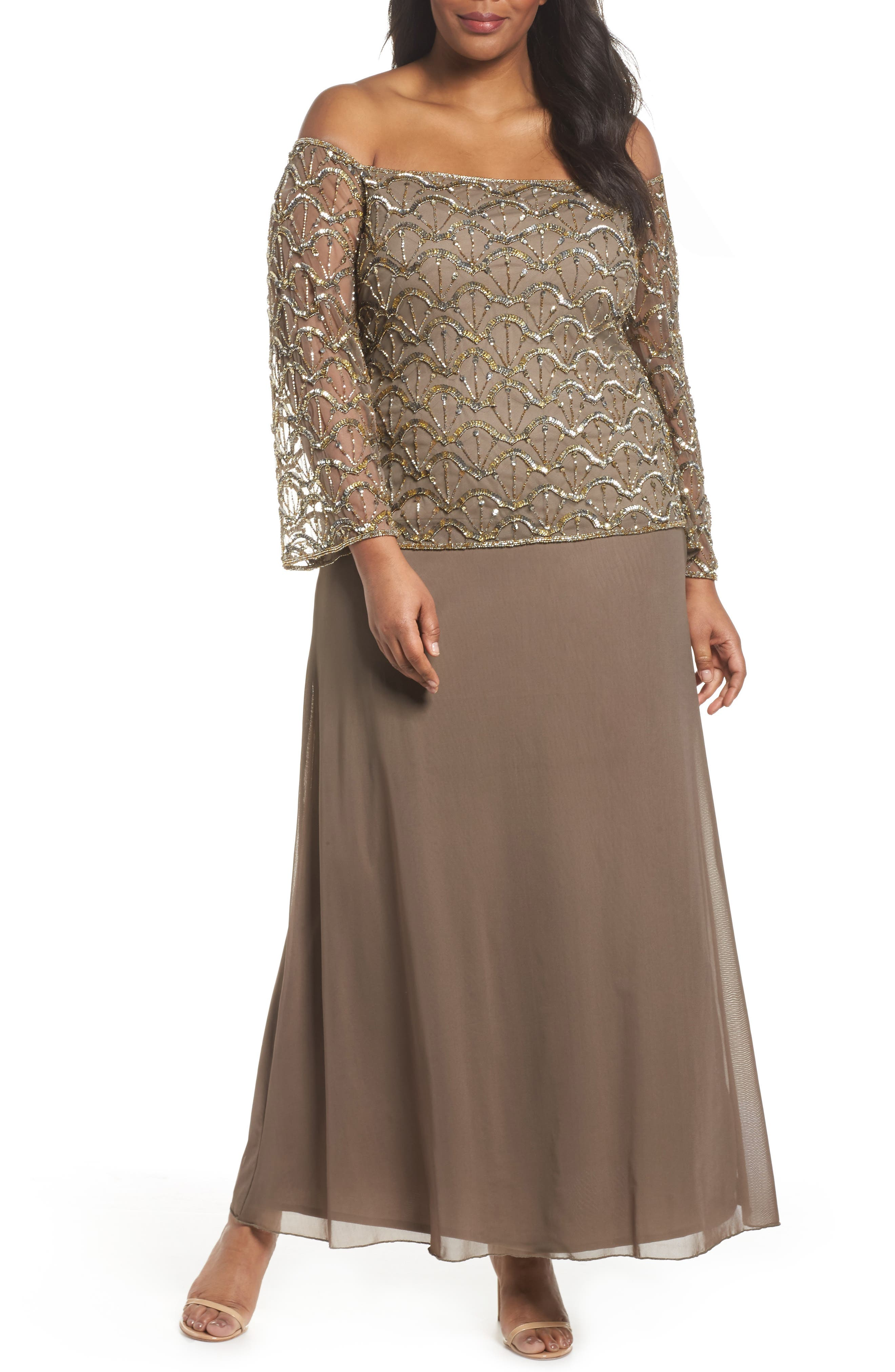 Embellished Off the Shoulder Gown,                             Main thumbnail 1, color,                             Mocha