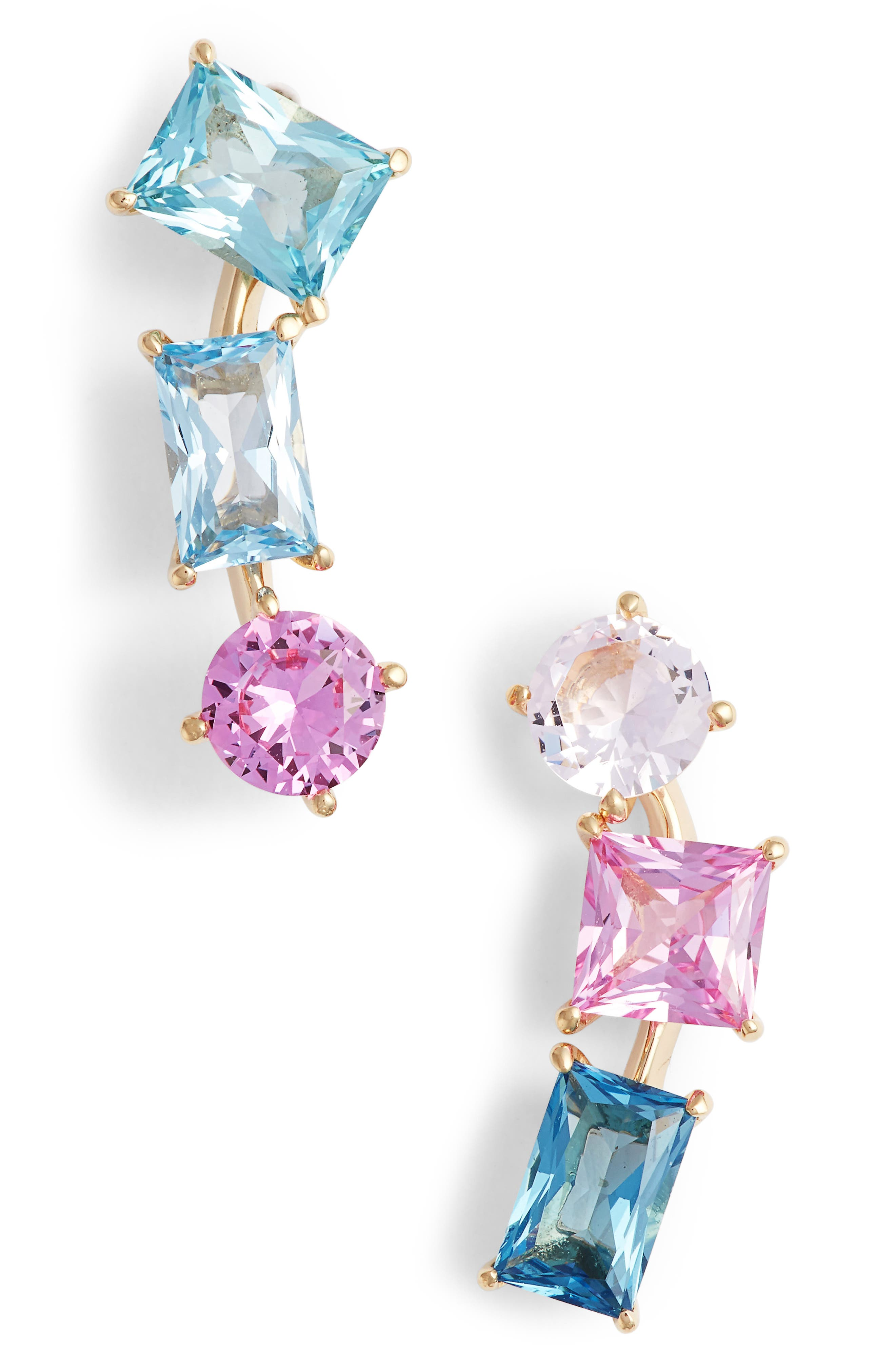 Mismatched Crystal Drop Earrings,                             Main thumbnail 1, color,                             Gold