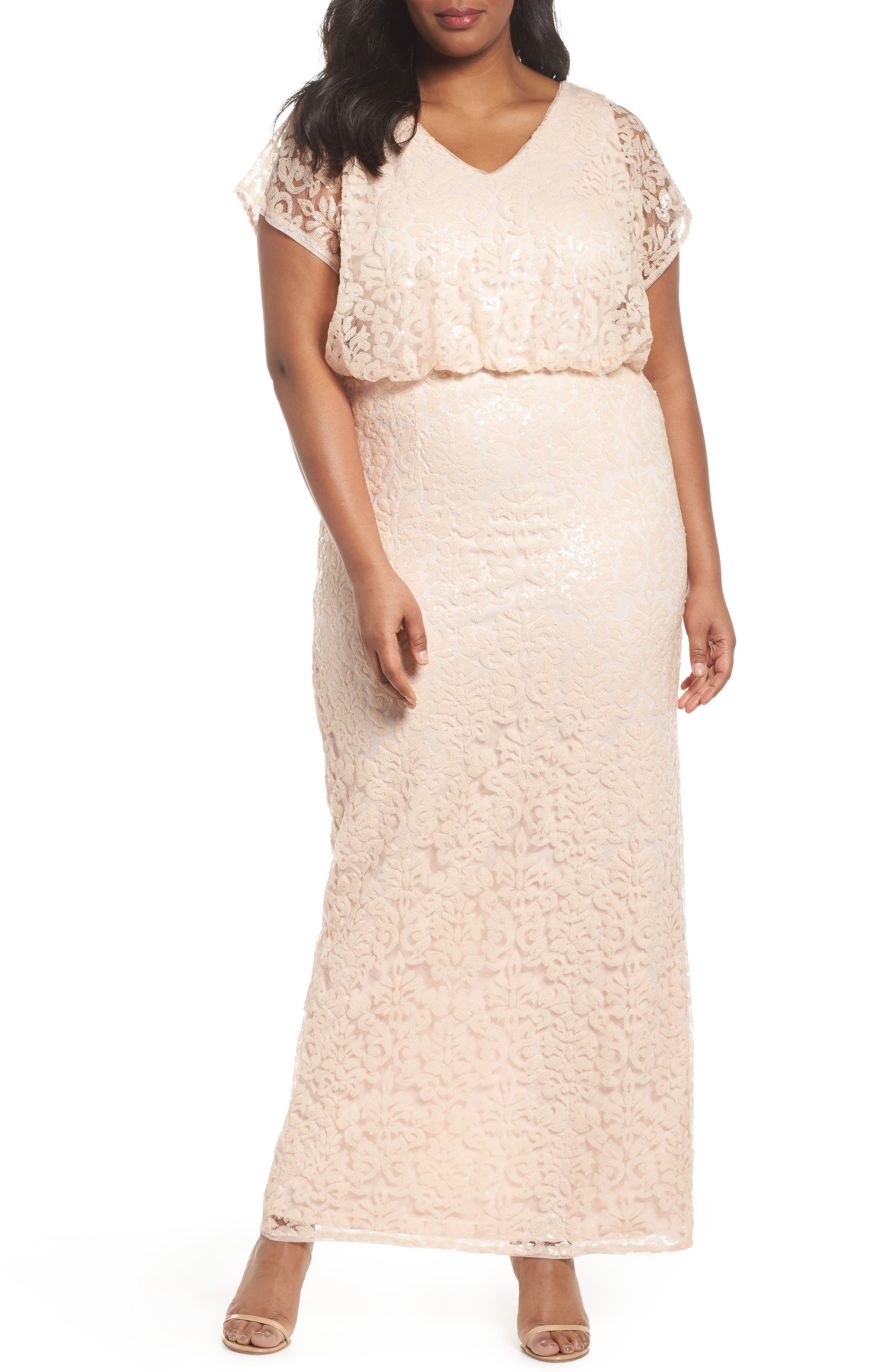 Sequin Embellished Blouson Gown,                             Main thumbnail 1, color,                             Blush