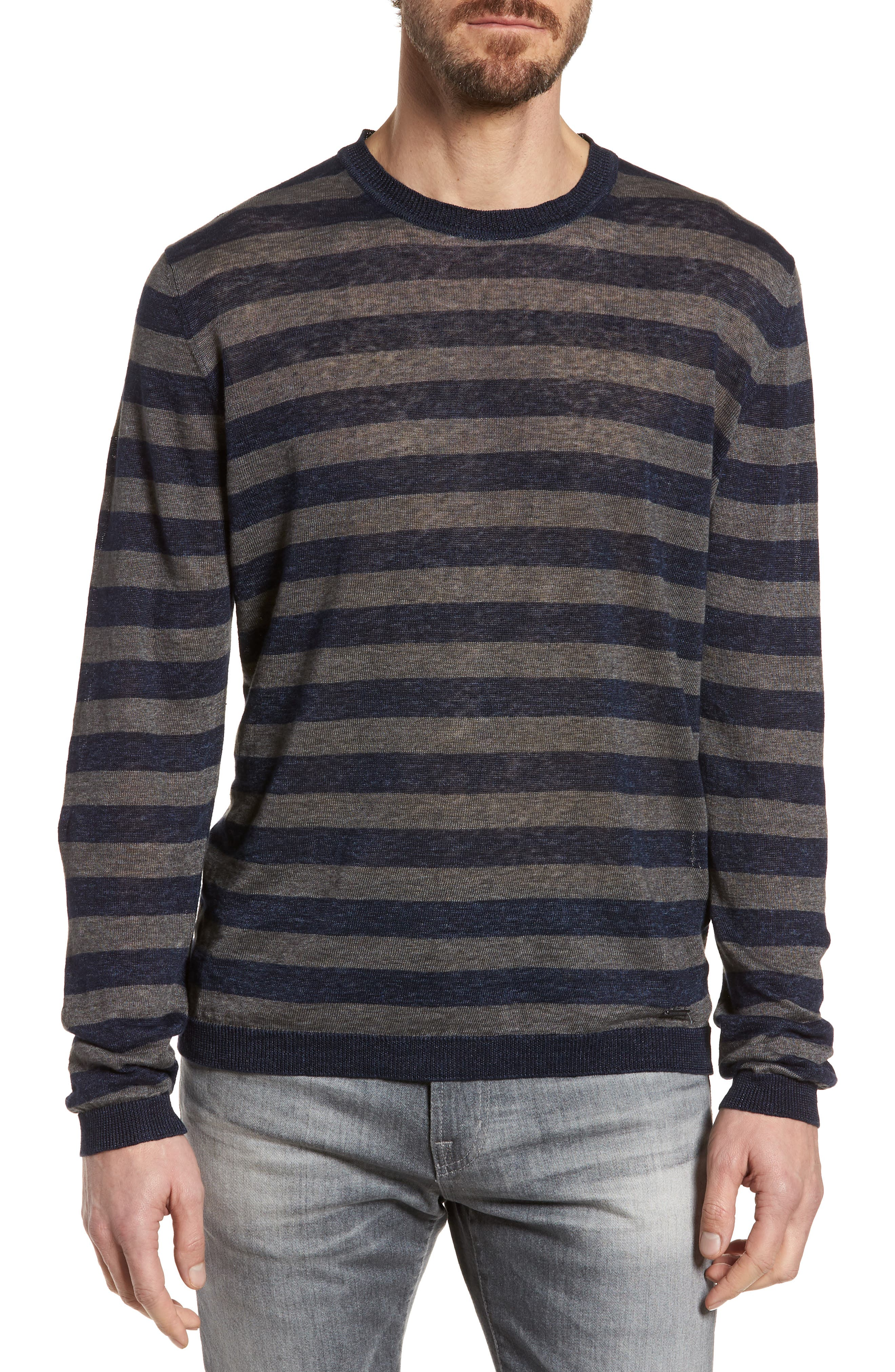 & Bros. Stripe Linen Sweater,                             Main thumbnail 1, color,                             Navy Stripe