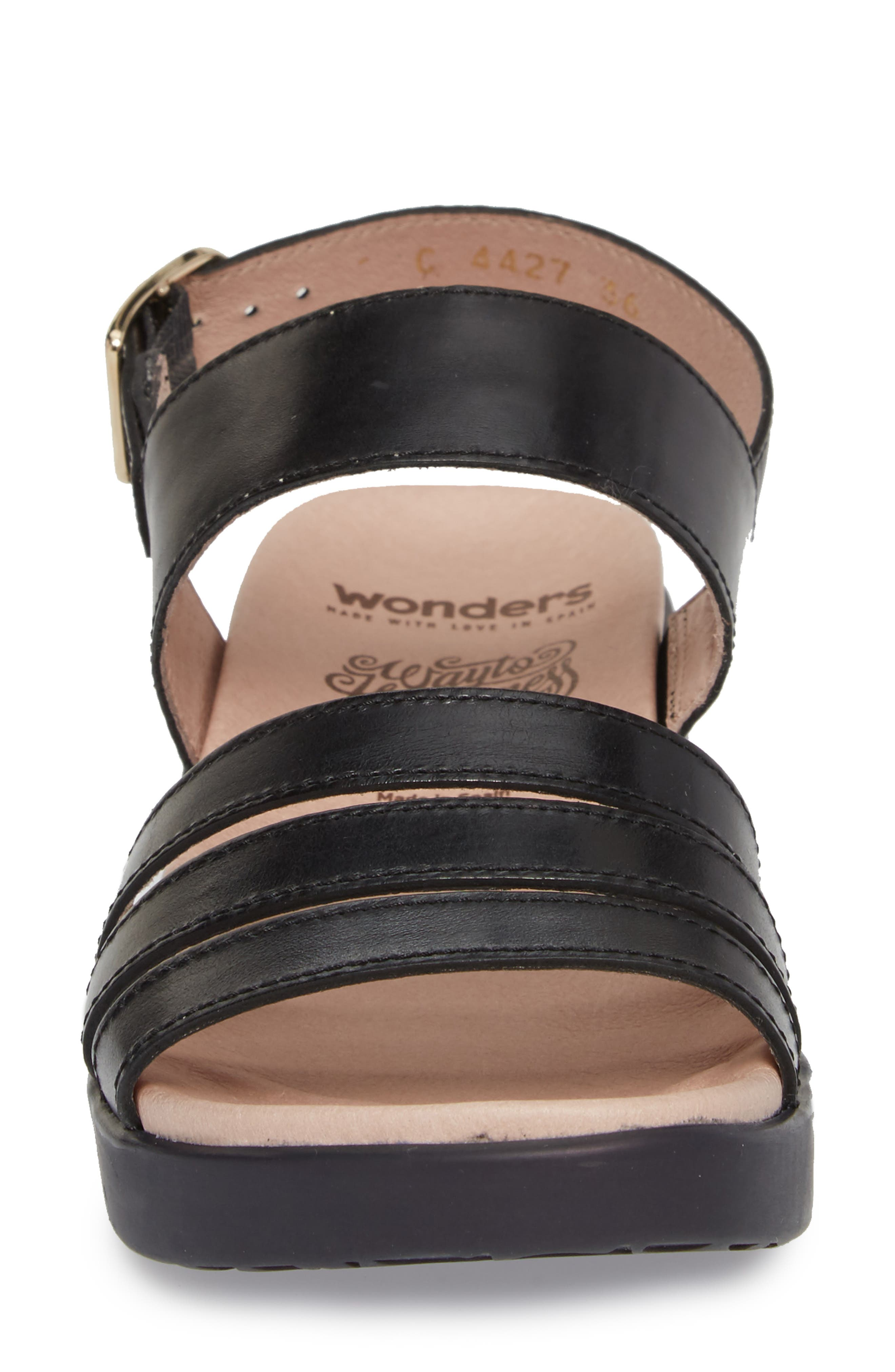 A-8004 Sandal,                             Alternate thumbnail 4, color,                             Black Leather