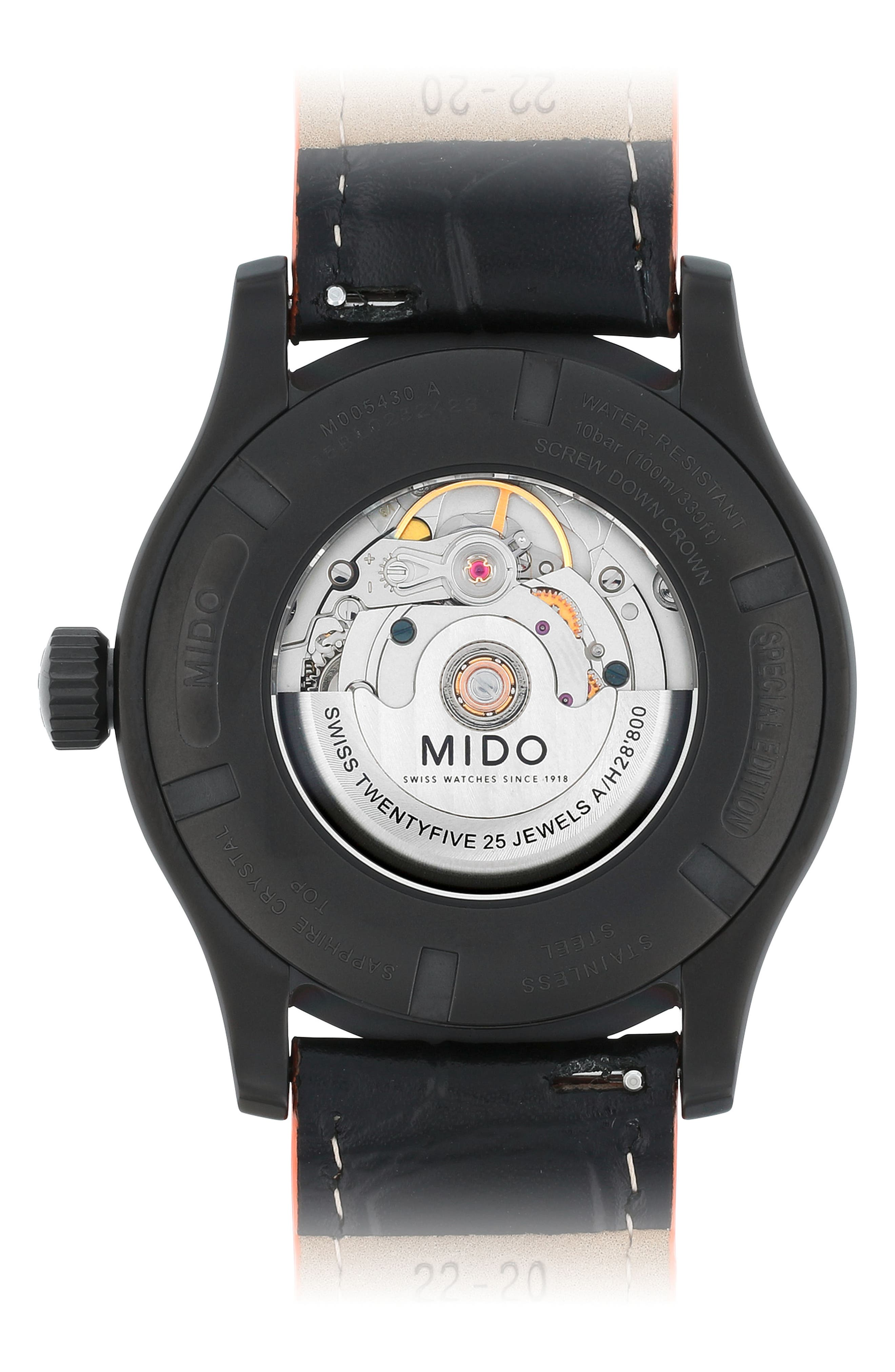 Multifort Automatic Leather Strap Watch, 42mm,                             Alternate thumbnail 4, color,                             Red/ Black