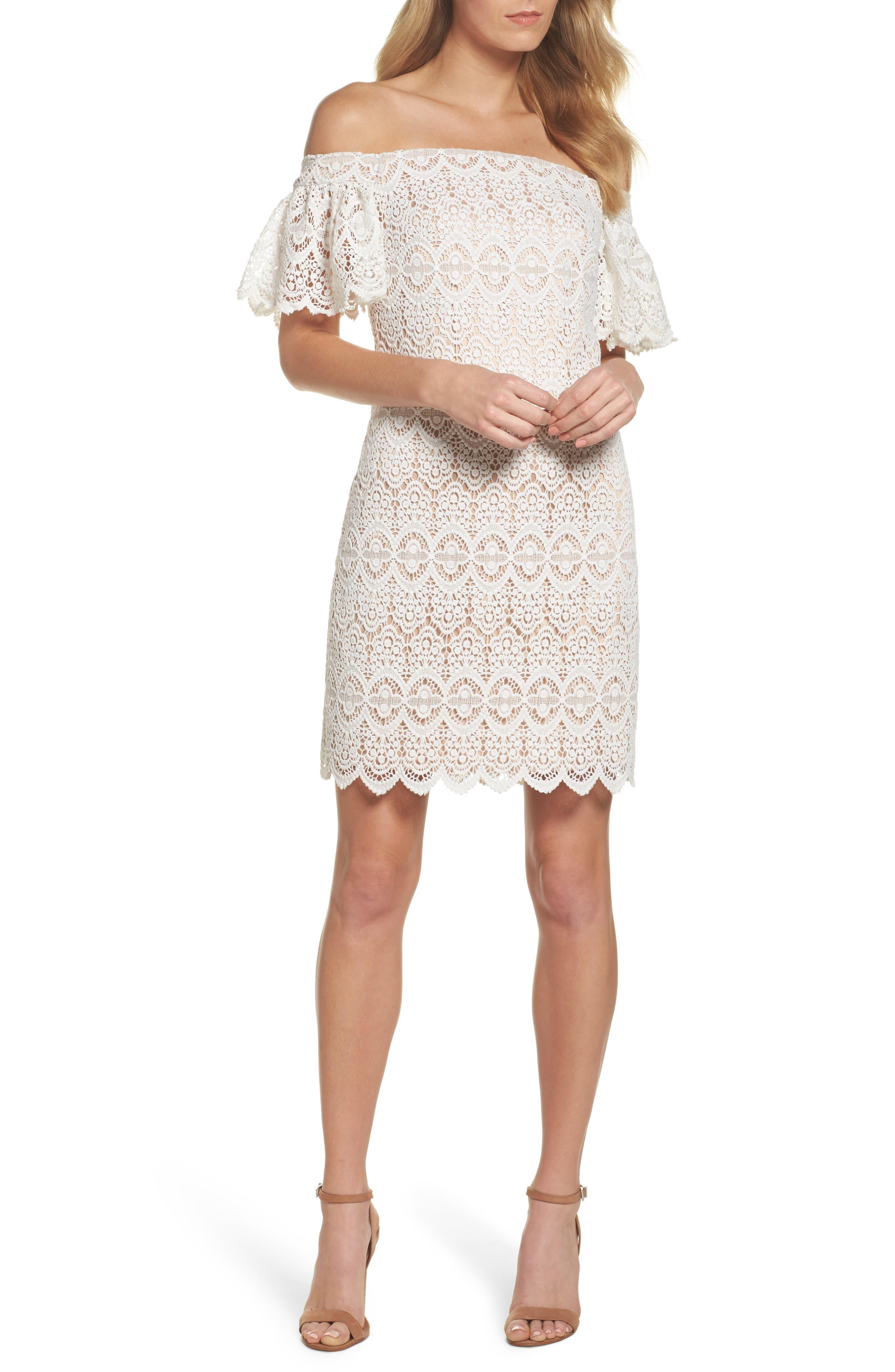 Alternate Image 1 Selected - Eliza J Off the Shoulder Lace Dress