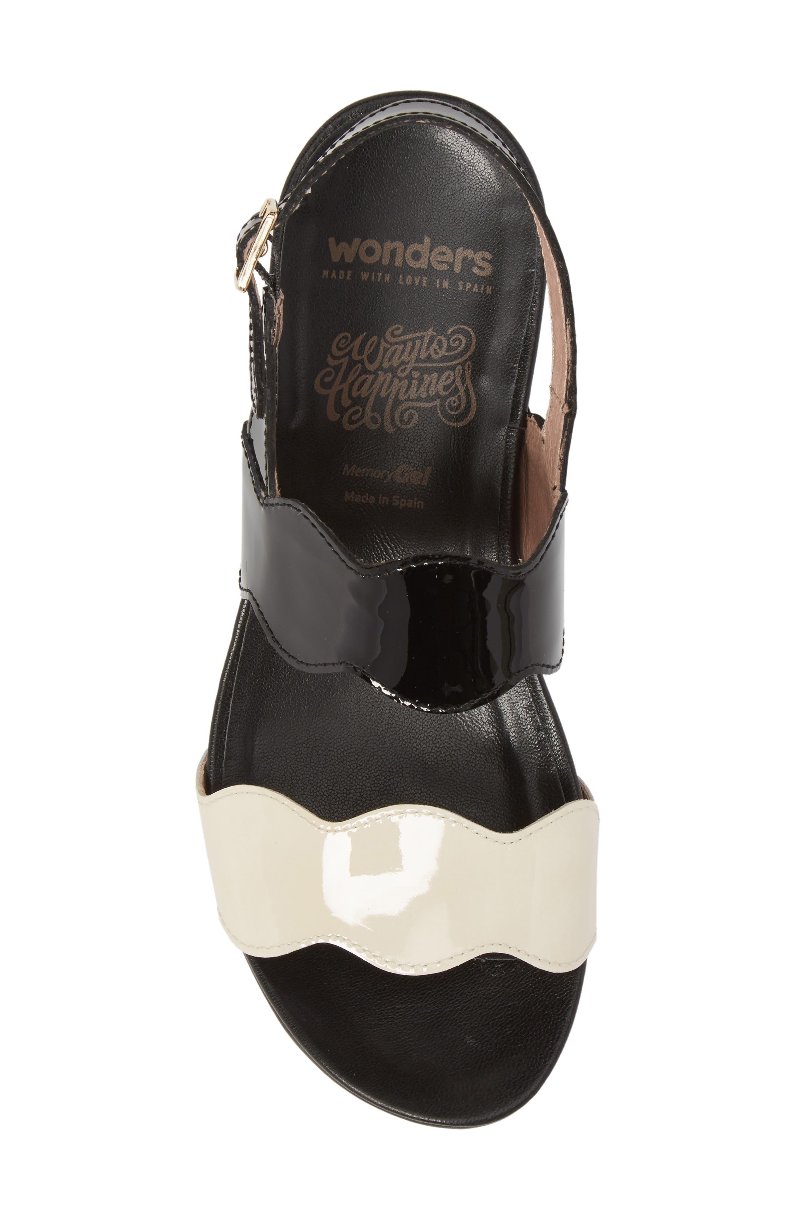 Wedge Sandal,                             Alternate thumbnail 5, color,                             Black/ Off Leather