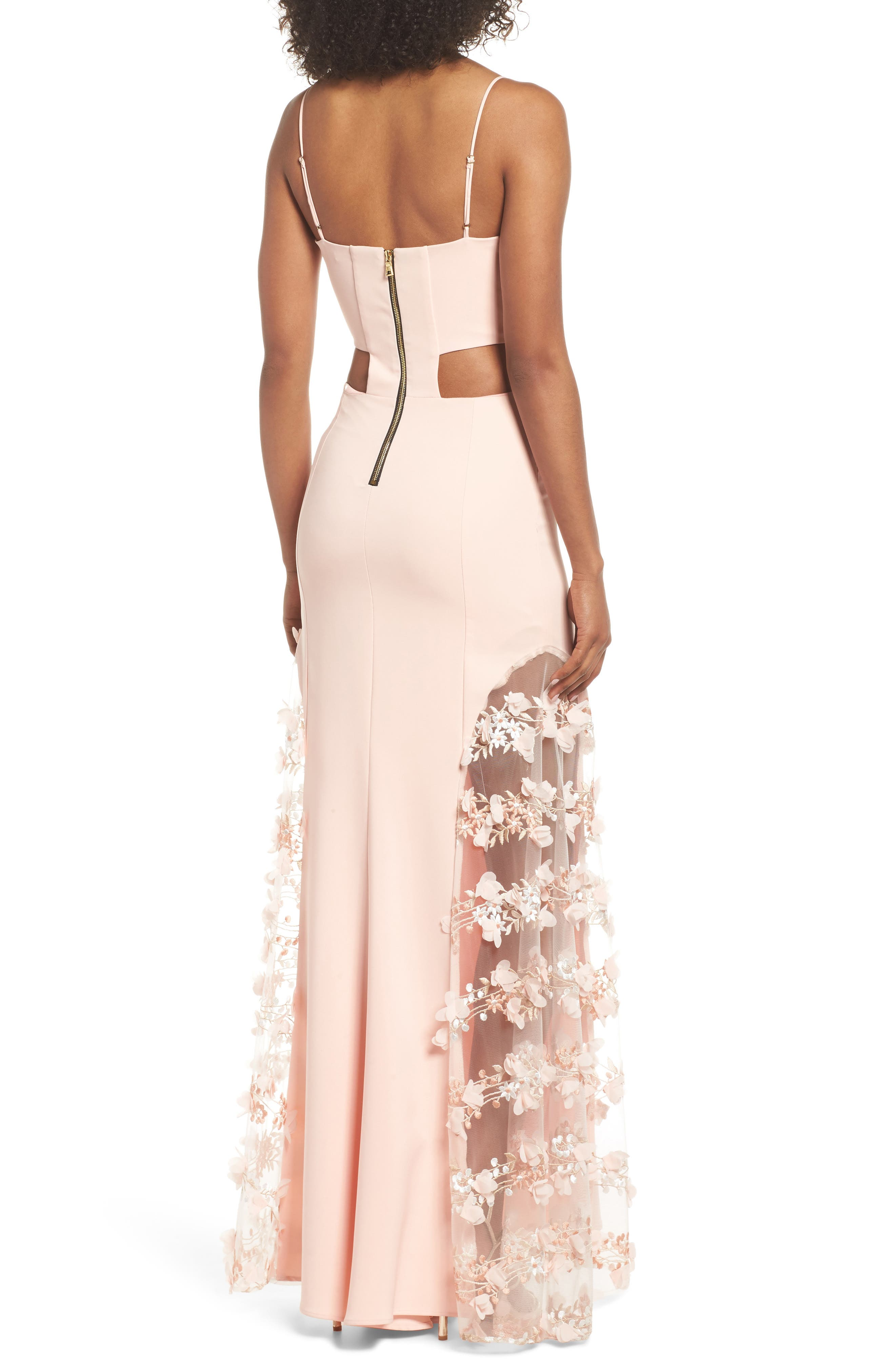 Alex Sheer Panel A-Line Gown,                             Alternate thumbnail 2, color,                             Apricot