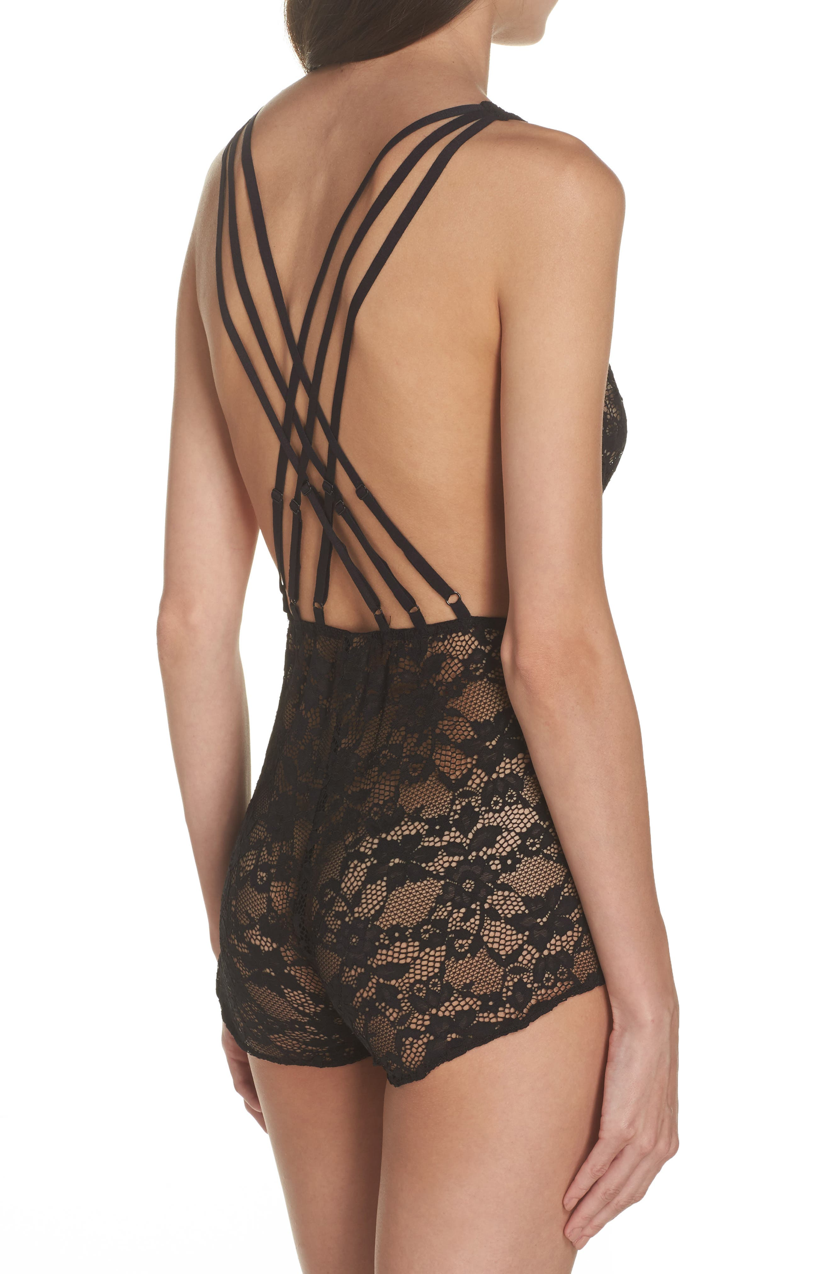 Foxy Lace Teddy,                             Alternate thumbnail 2, color,                             Black