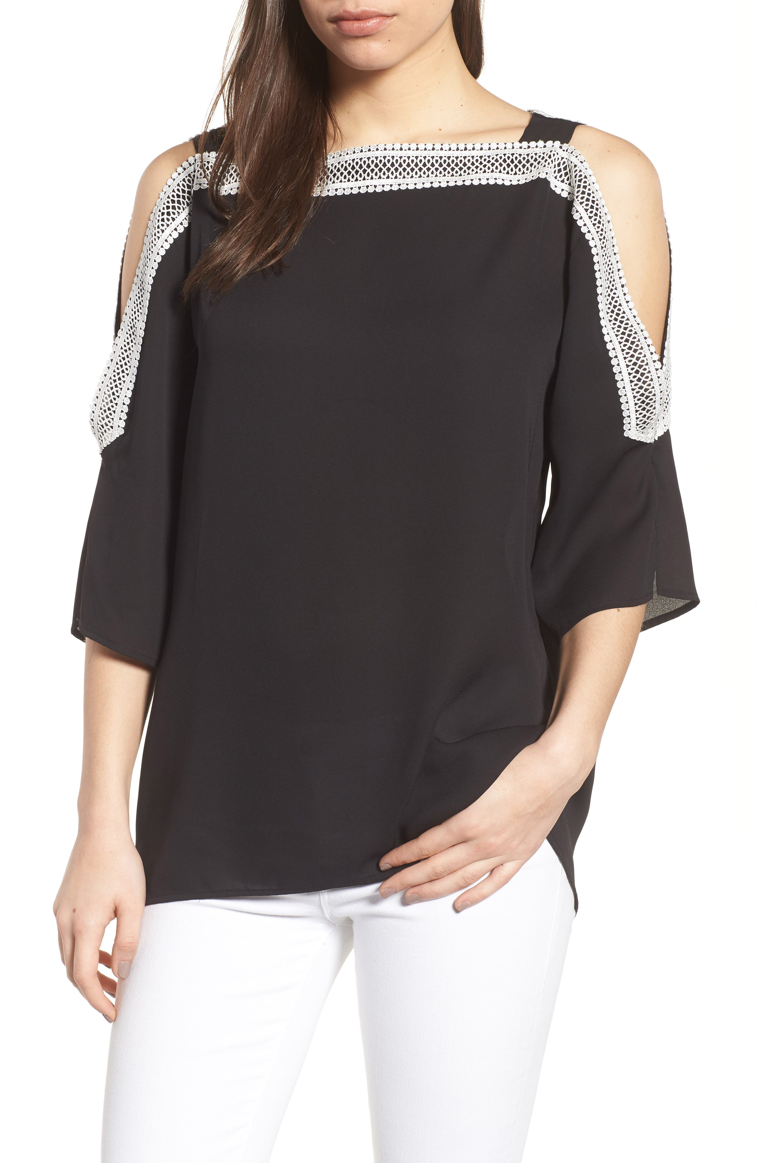 Embroidered Off the Shoulder louse,                         Main,                         color, 060-Rich Black