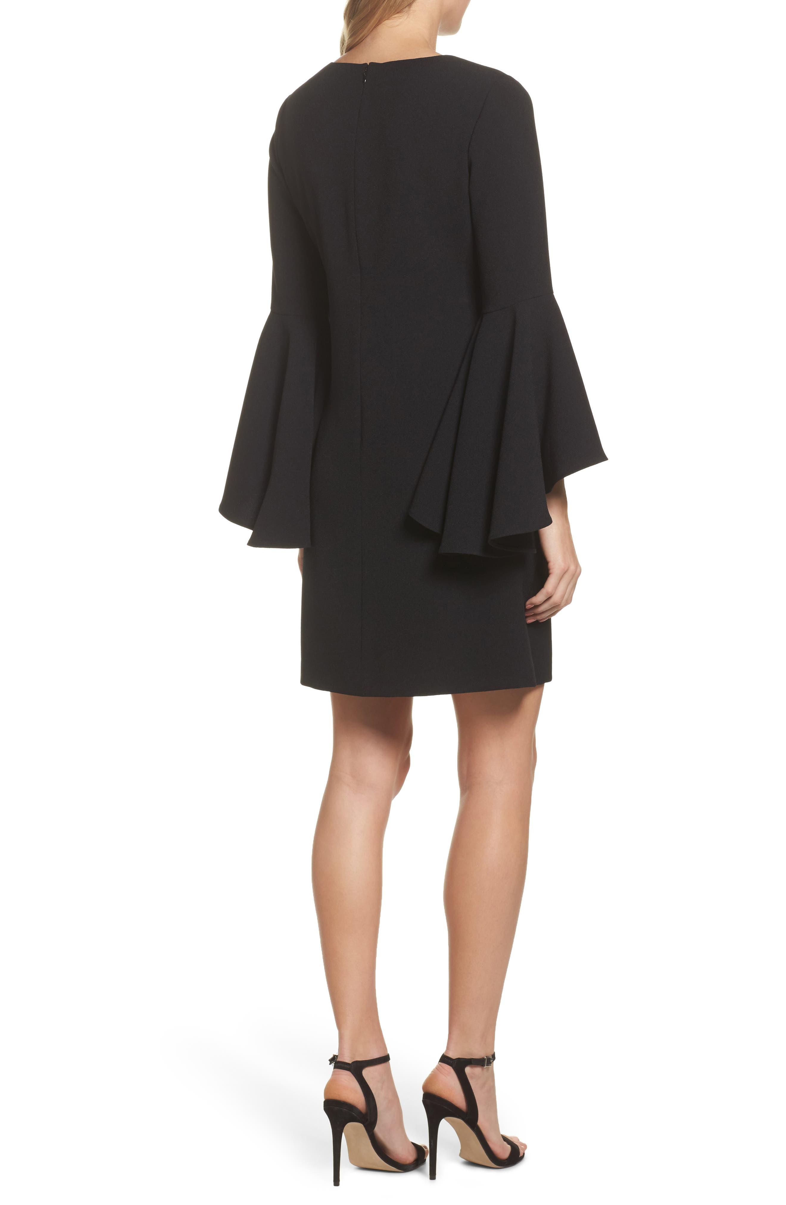 Alternate Image 2  - Eliza J Bell Sleeve Crepe Shift Dress (Regular & Petite)