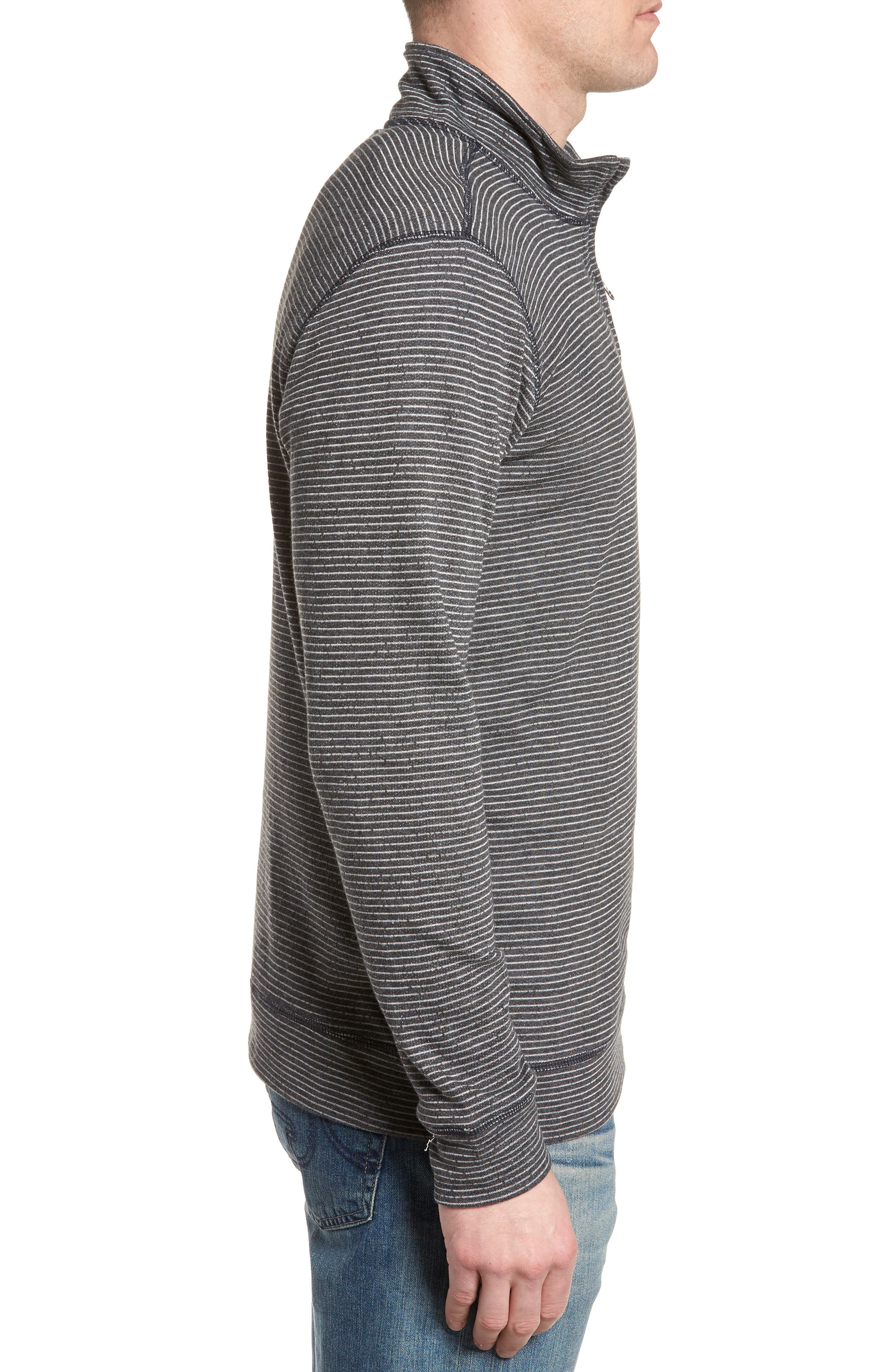 Space Dye Stripe French Terry Pullover,                             Alternate thumbnail 3, color,                             Charcoal