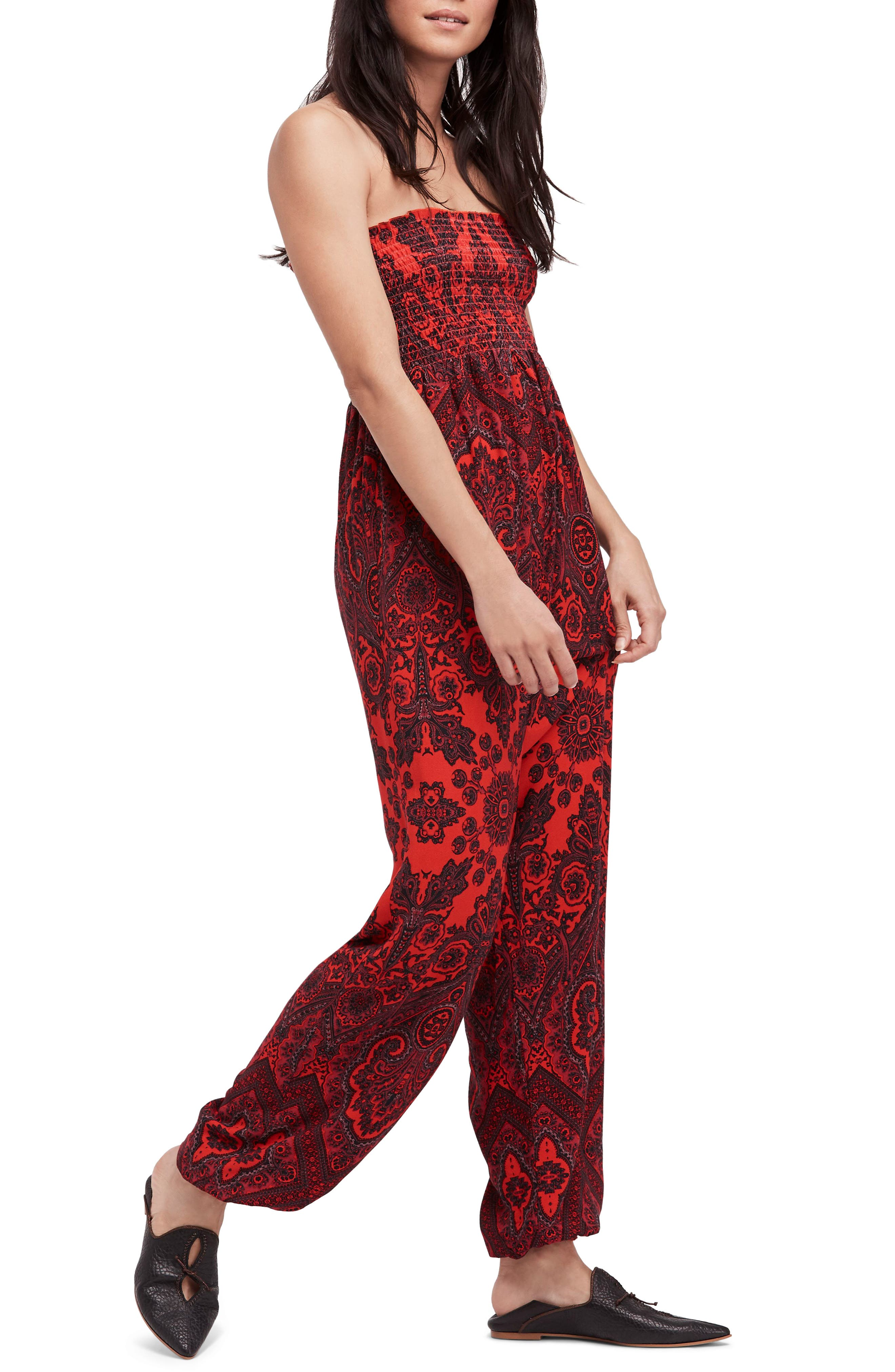 Thinking of You Smocked Jumpsuit,                             Main thumbnail 1, color,                             Red Combo