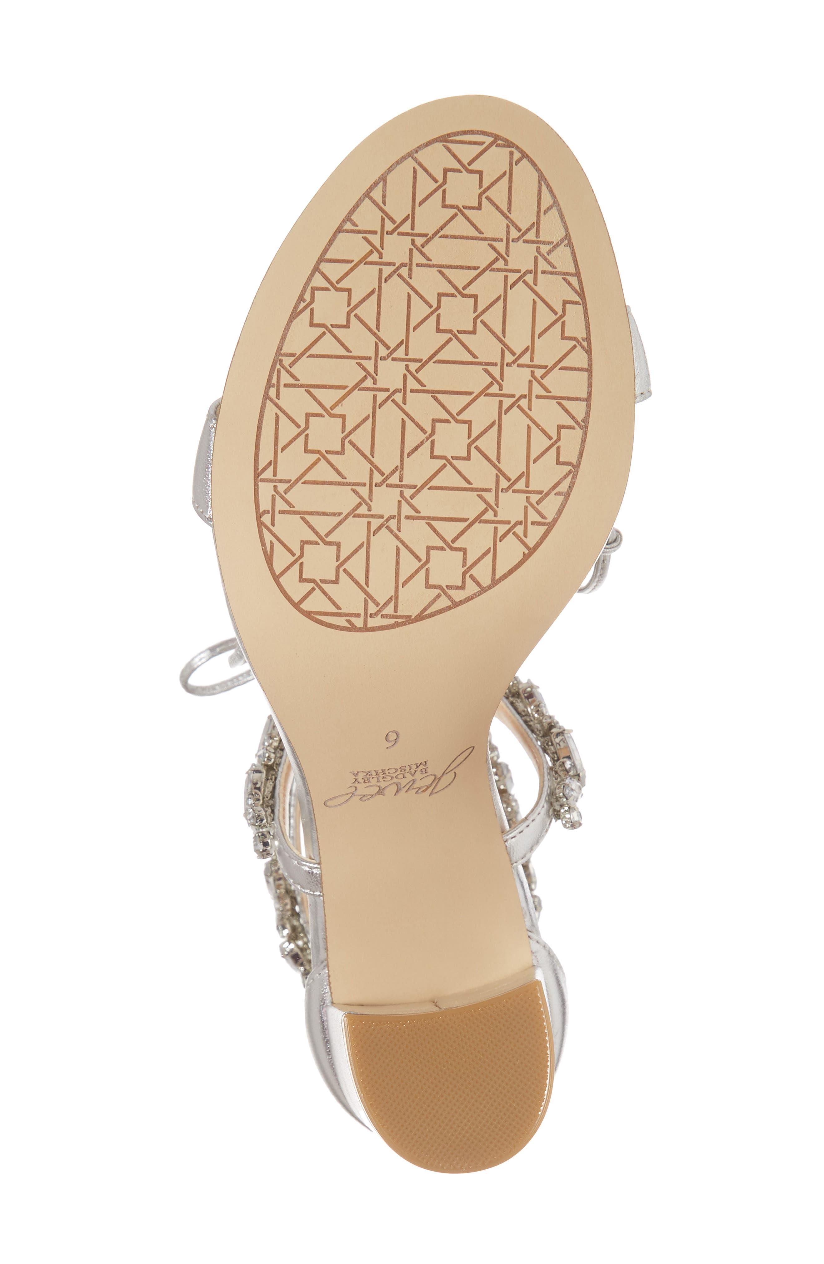 Thamar Embellished Sandal,                             Alternate thumbnail 6, color,                             Silver Leather