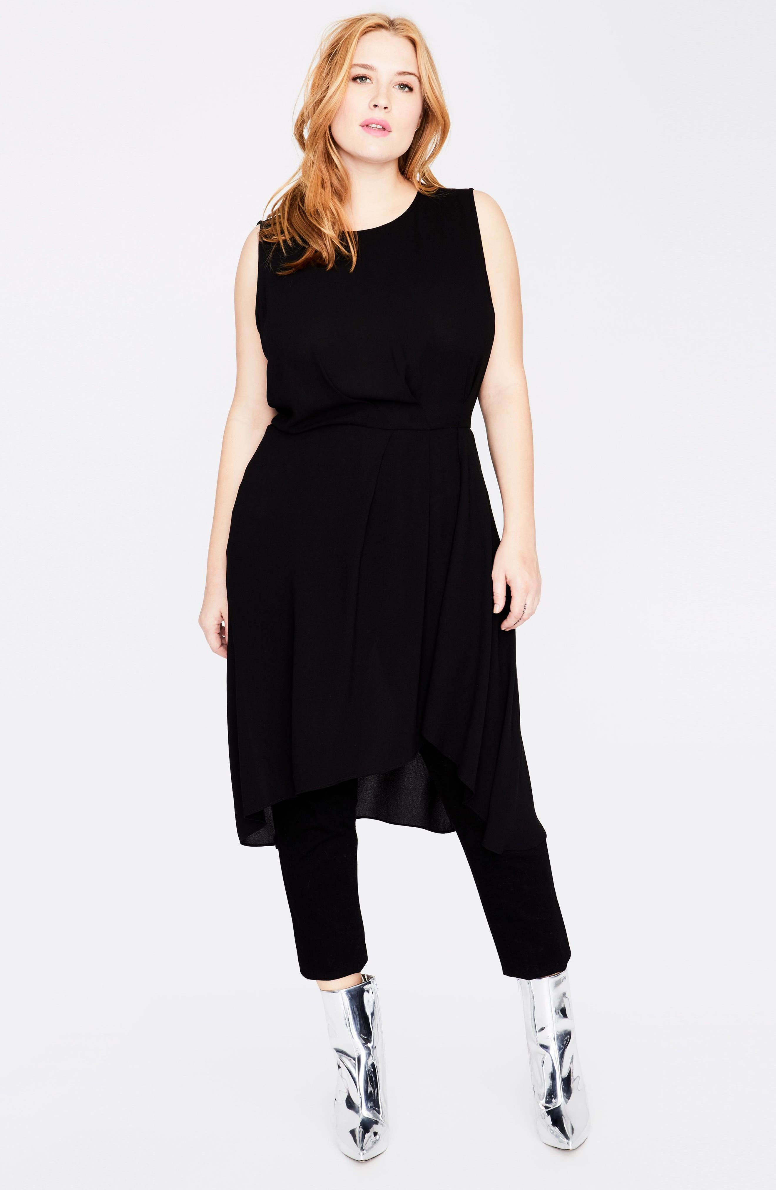 Sleeveless Cascade Tunic Dress,                             Alternate thumbnail 3, color,                             Black