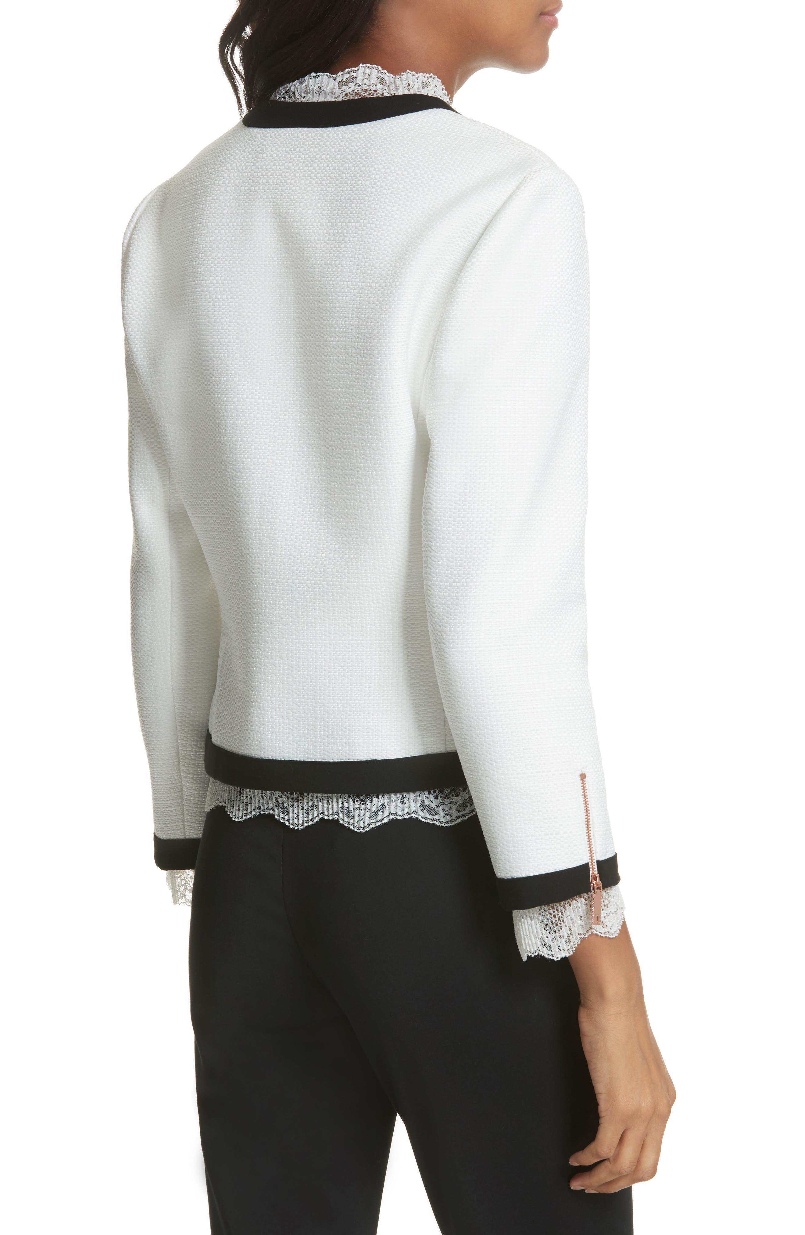 Lace Trim Crop Jacket,                             Alternate thumbnail 2, color,                             White