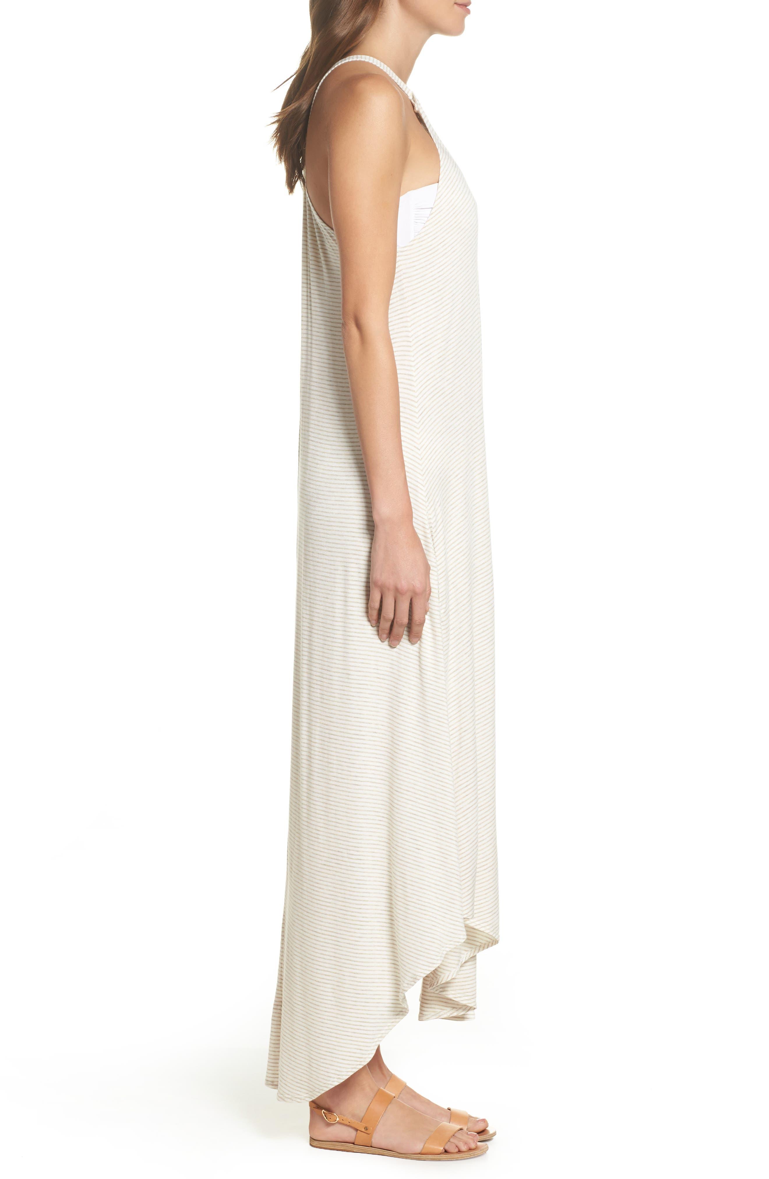 High Neck Cover-Up Dress,                             Alternate thumbnail 3, color,                             Natural Stripe