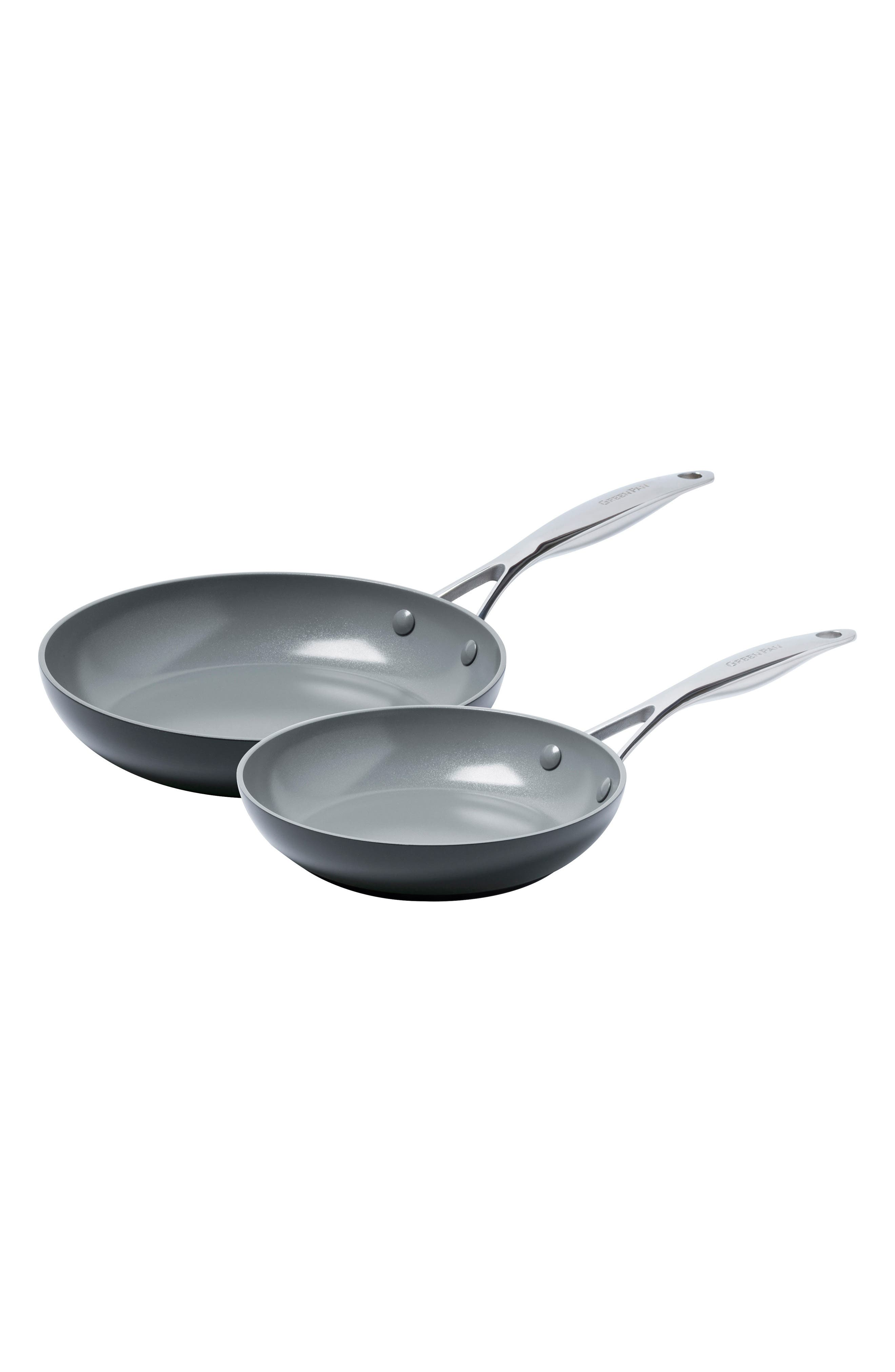 Valencia Pro 8-Inch & 10-Inch Anodized Aluminum Ceramic Nonstick Frying Pan Set,                         Main,                         color, Black