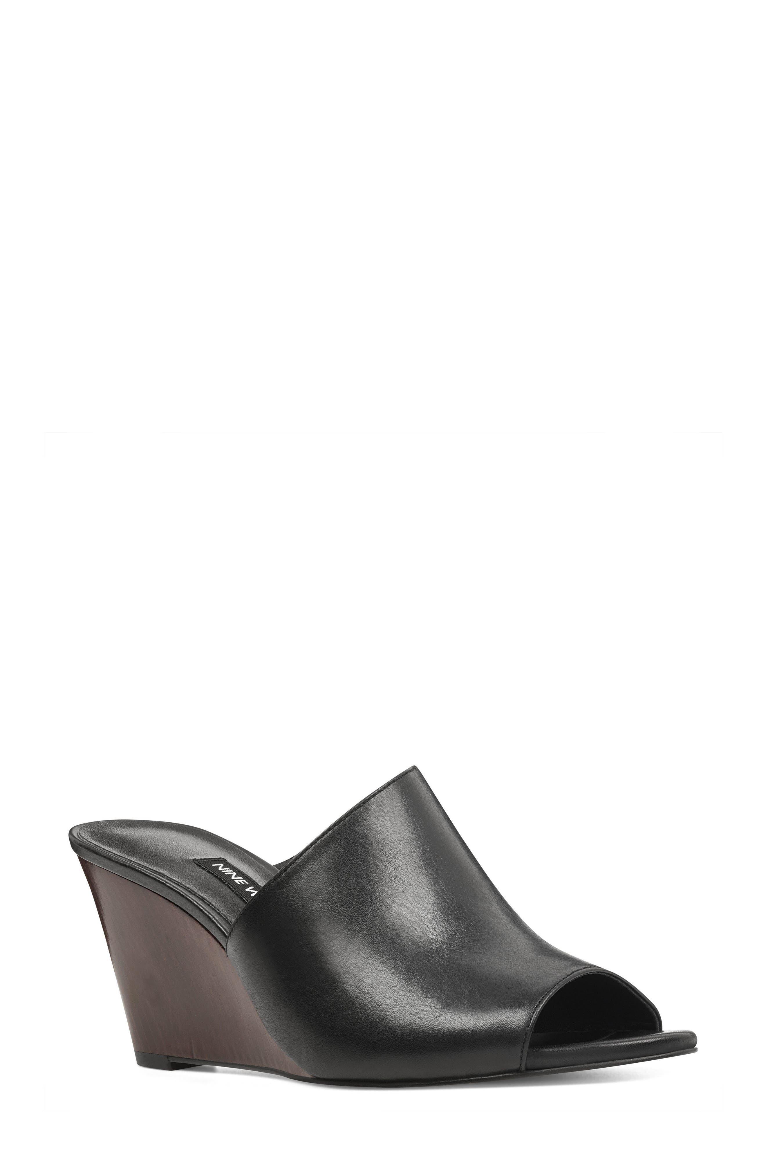 Janissah Wedge,                             Main thumbnail 1, color,                             Black Leather