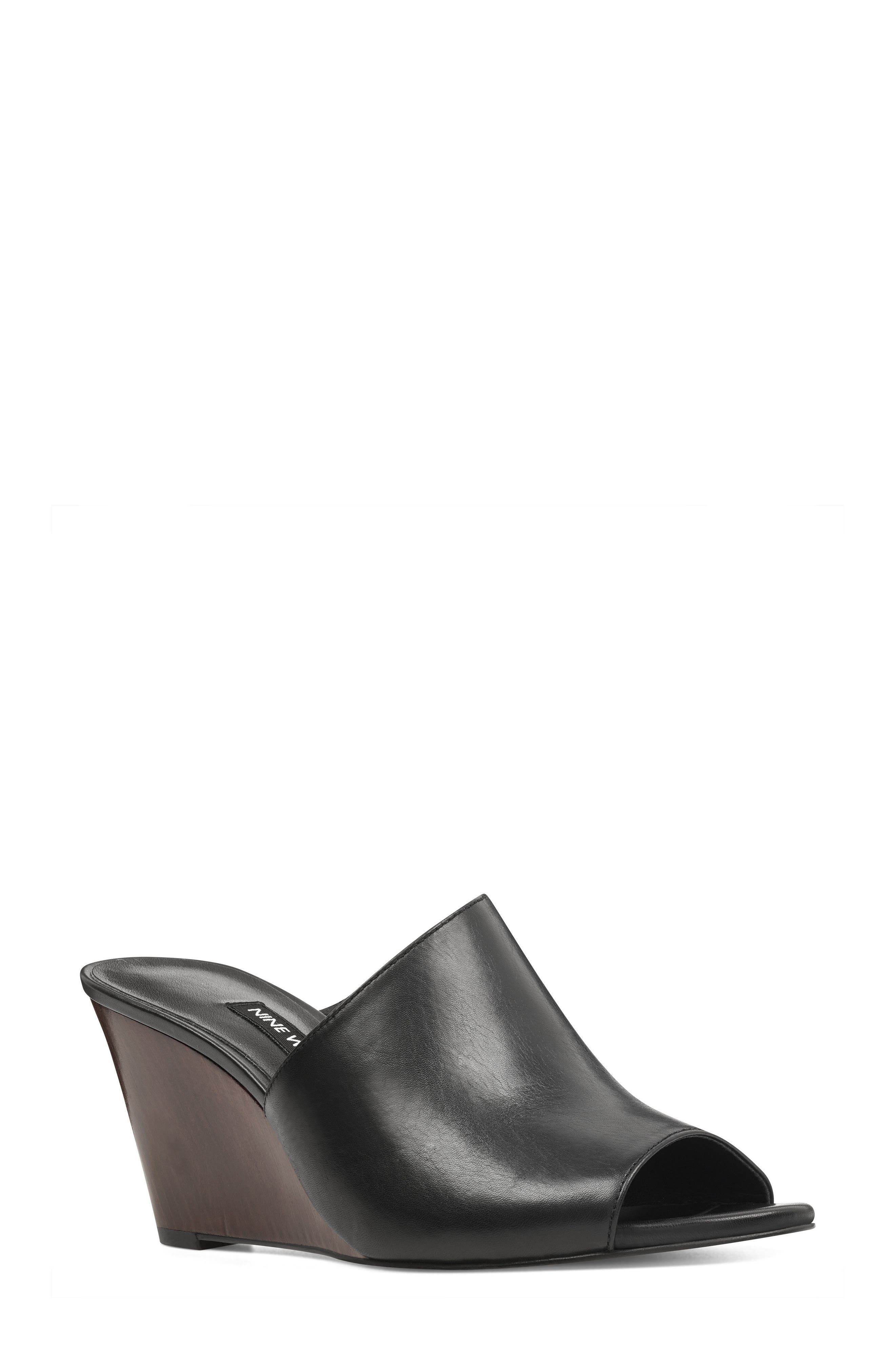 Janissah Wedge,                         Main,                         color, Black Leather