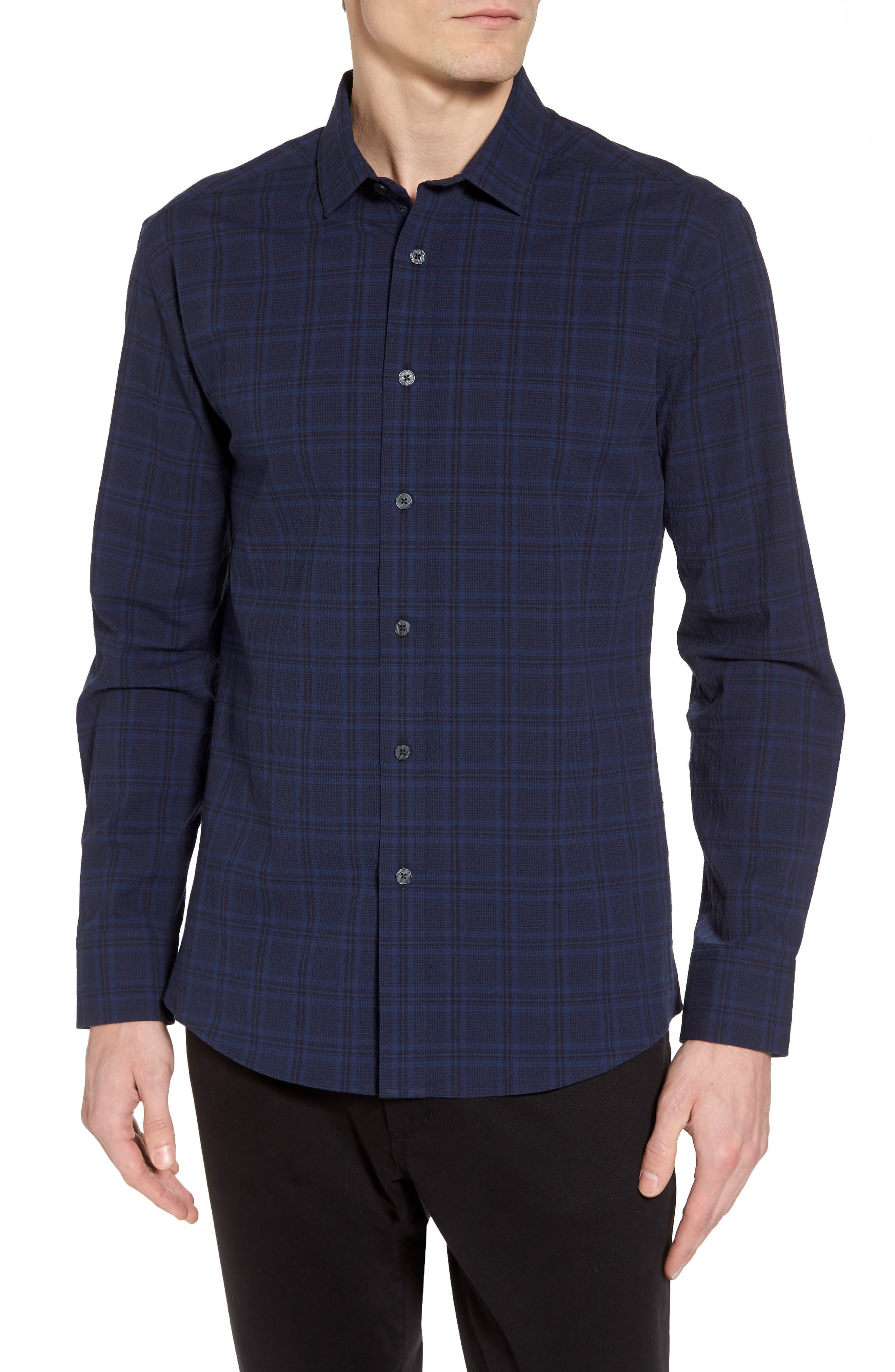 Slim Fit Plaid Stretch Sport Shirt,                         Main,                         color, Navy Seersucker Plaid