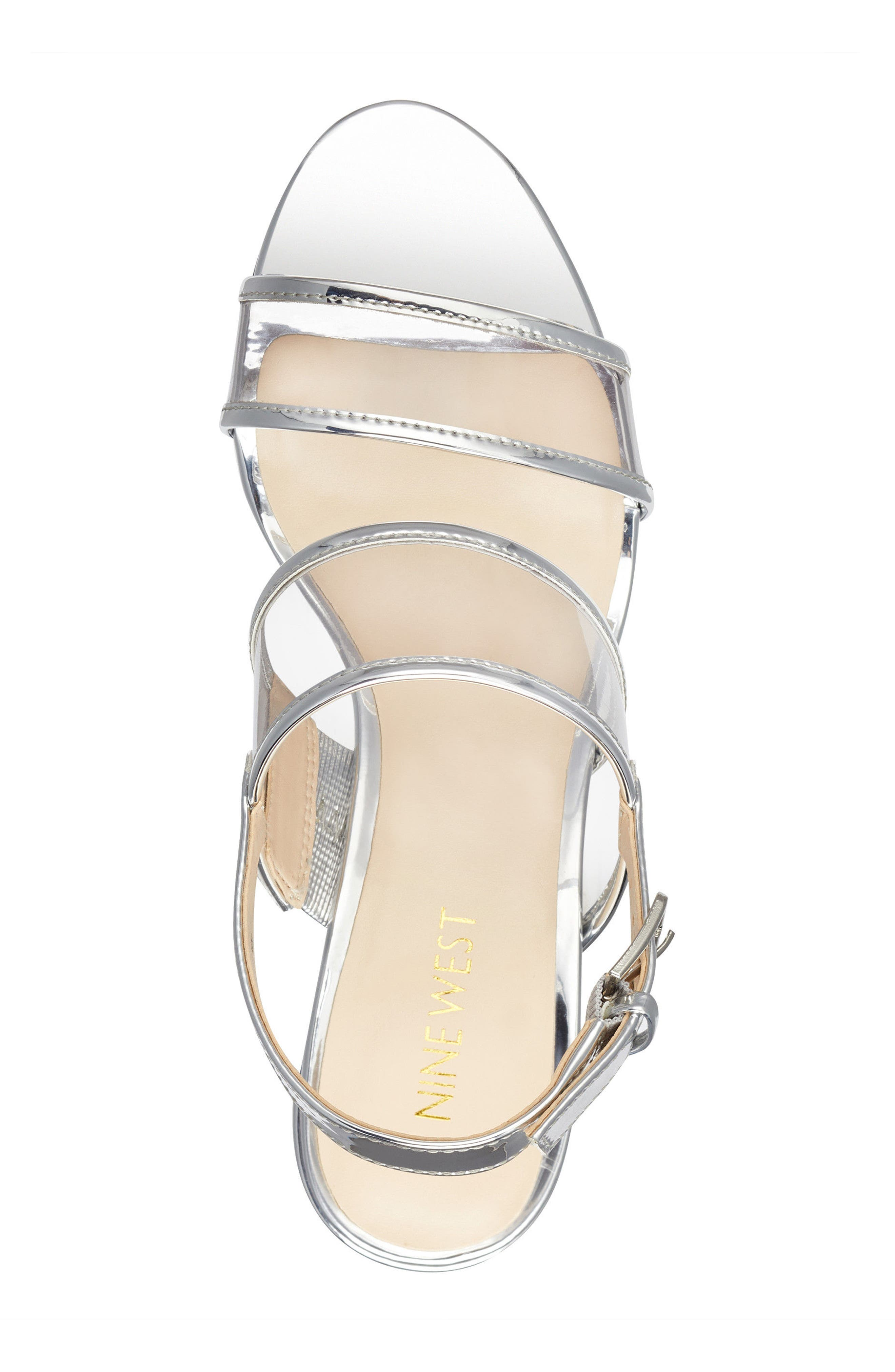 Gourdes Block Heel Sandal,                             Alternate thumbnail 5, color,                             Clear Grey Multi Faux Leather