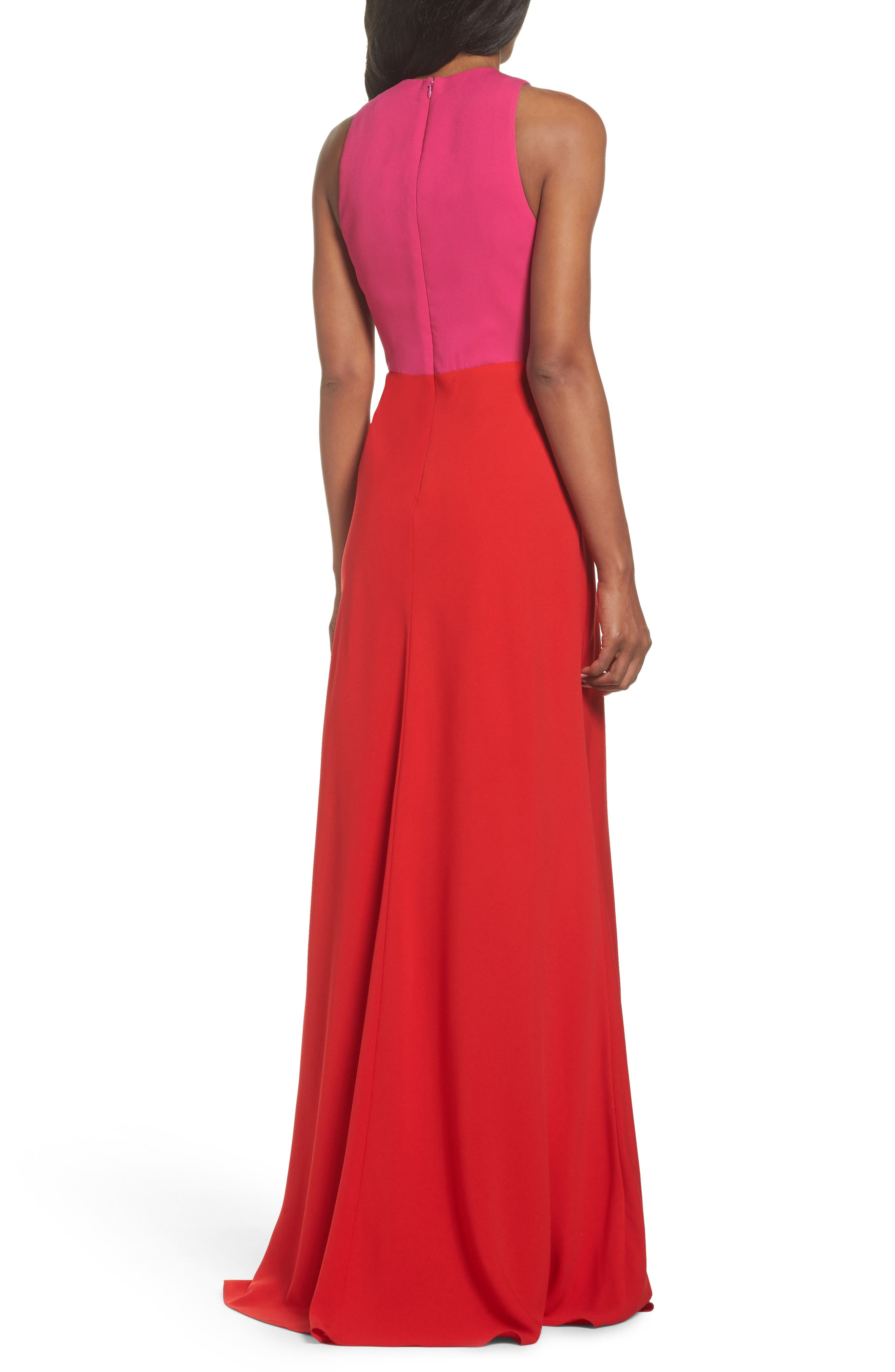 Colorblock Column Gown,                             Alternate thumbnail 2, color,                             Begonia Pink/ Poppy Red