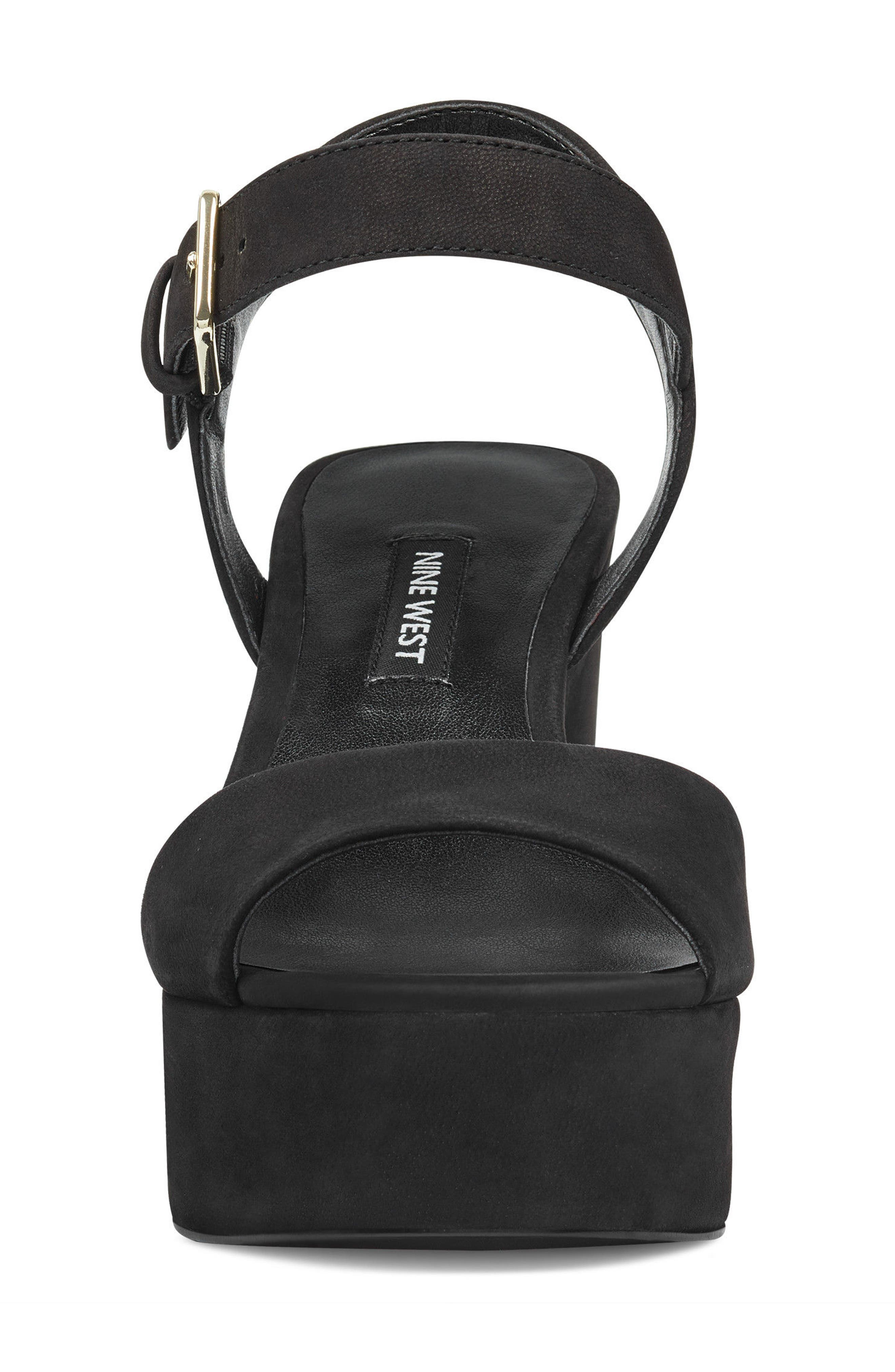 FallForU Platform Sandal,                             Alternate thumbnail 4, color,                             Black Leather