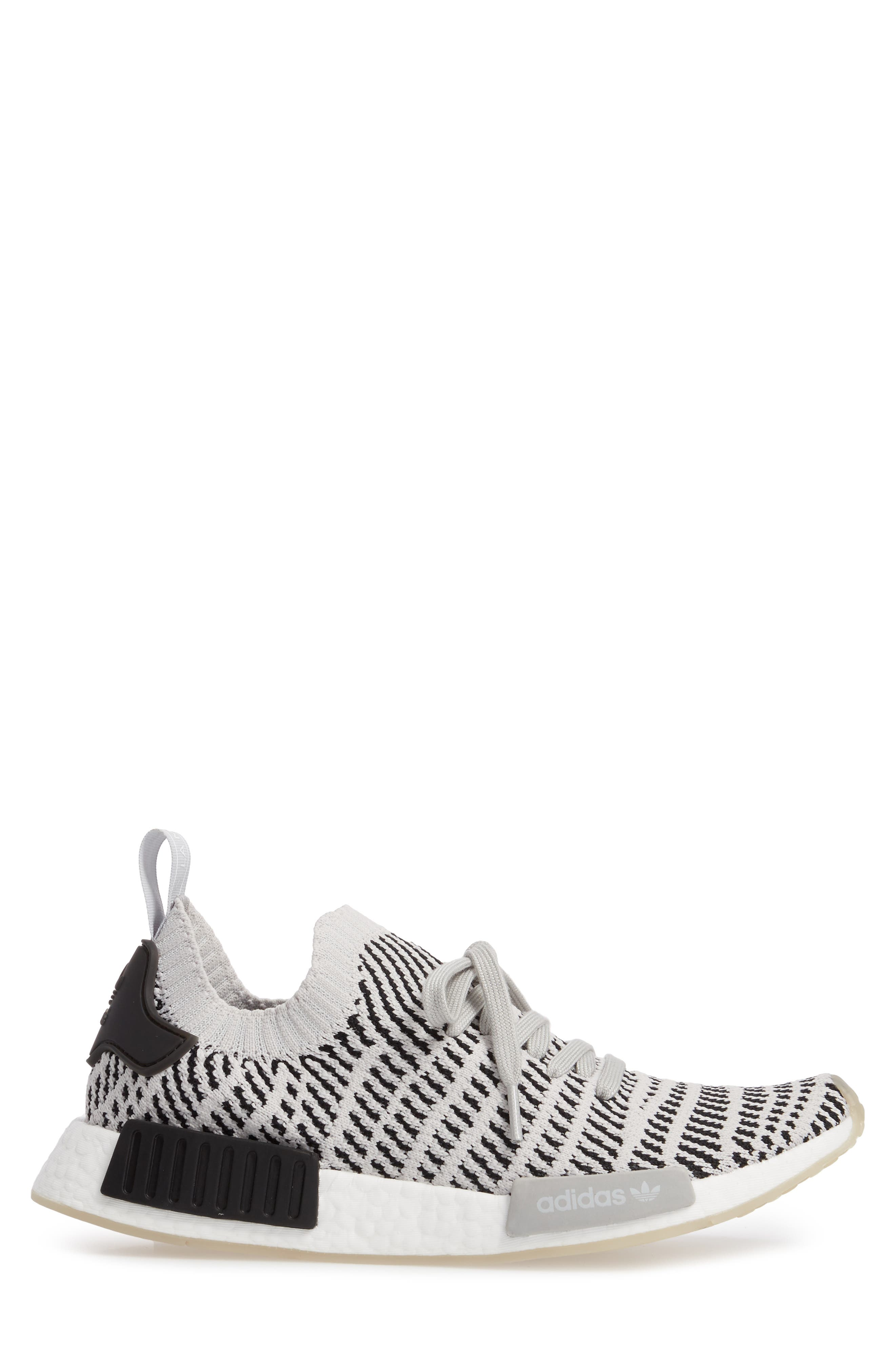 NMD R1 STLT Primeknit Sneaker,                             Alternate thumbnail 3, color,                             Grey/ Core Black