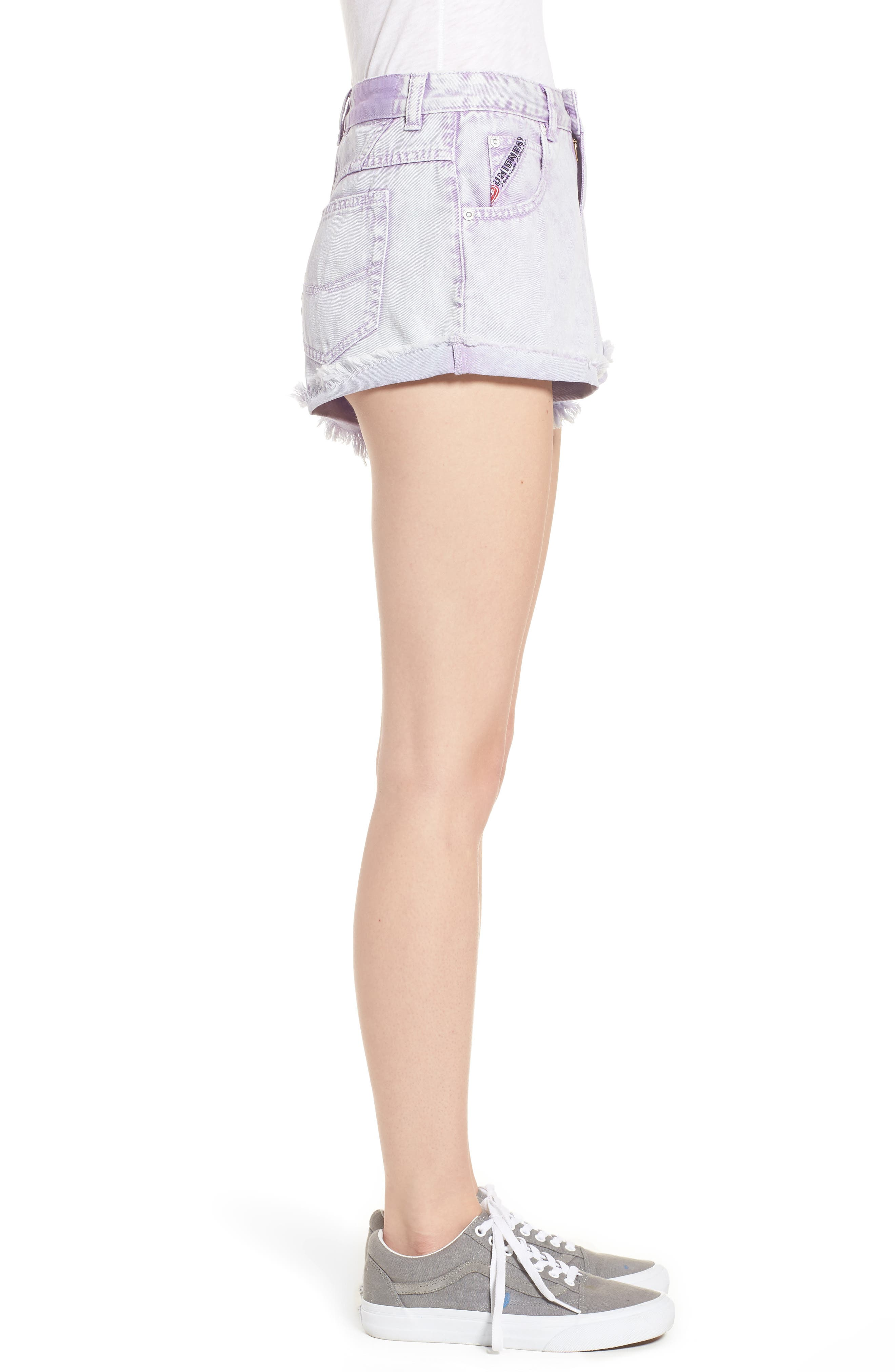 Unionbay Devo Acid Wash Denim Shorts,                             Alternate thumbnail 3, color,                             Ultra Lilac