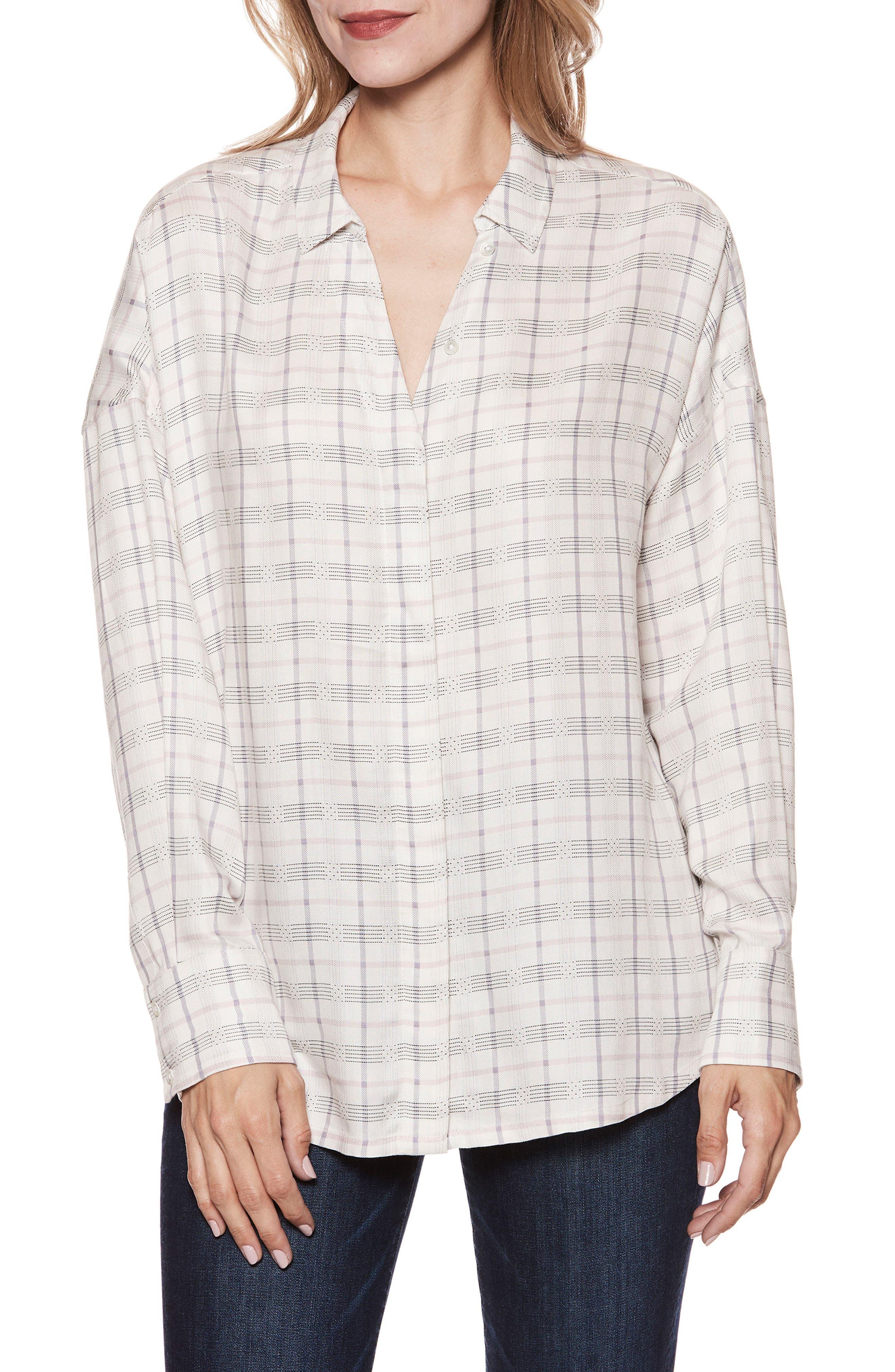 Delisa Check Shirt,                             Main thumbnail 1, color,                             White/ Lilac
