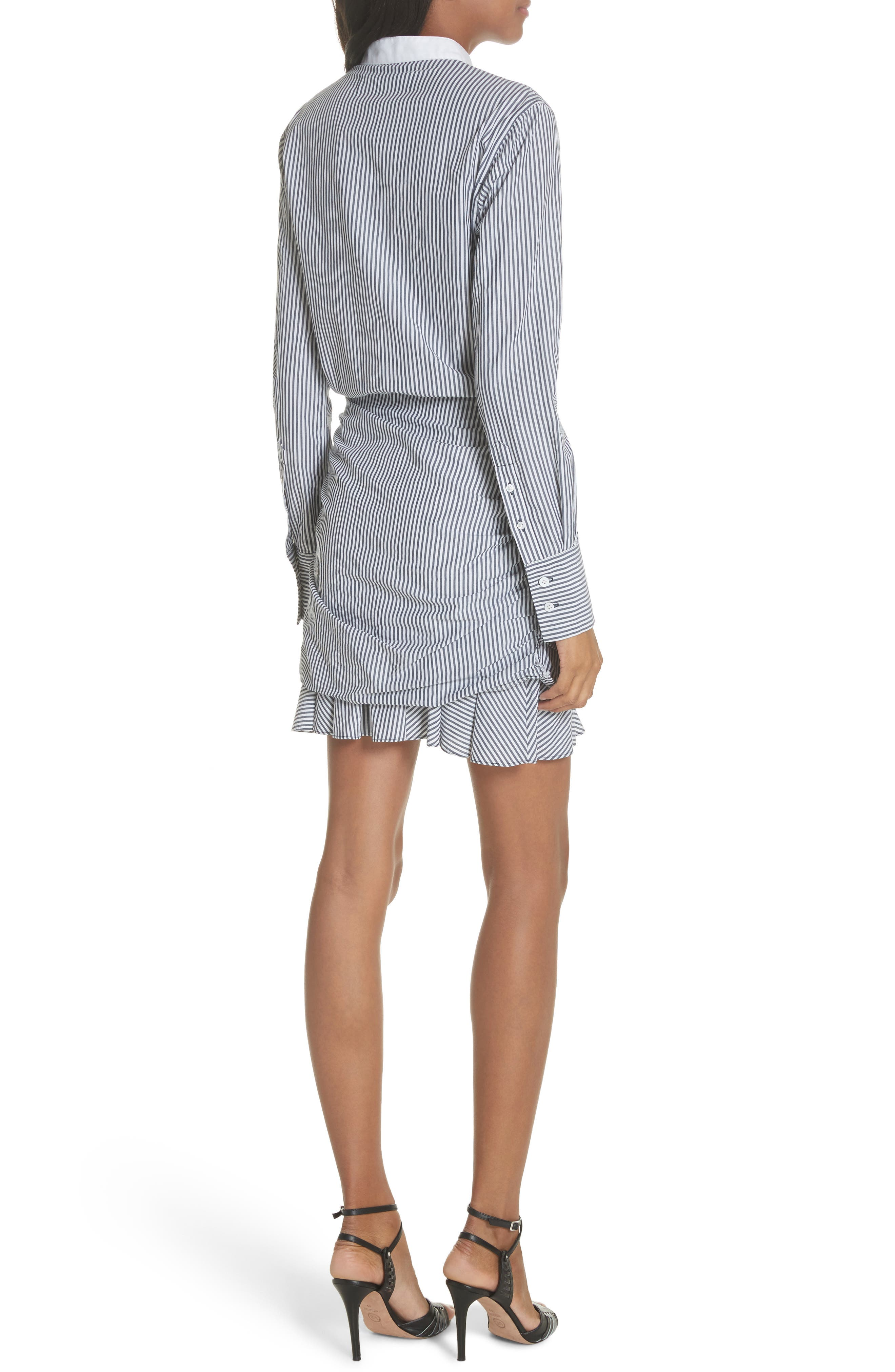 Everett Stripe Shirtdress,                             Alternate thumbnail 2, color,                             Black/ White Stripe