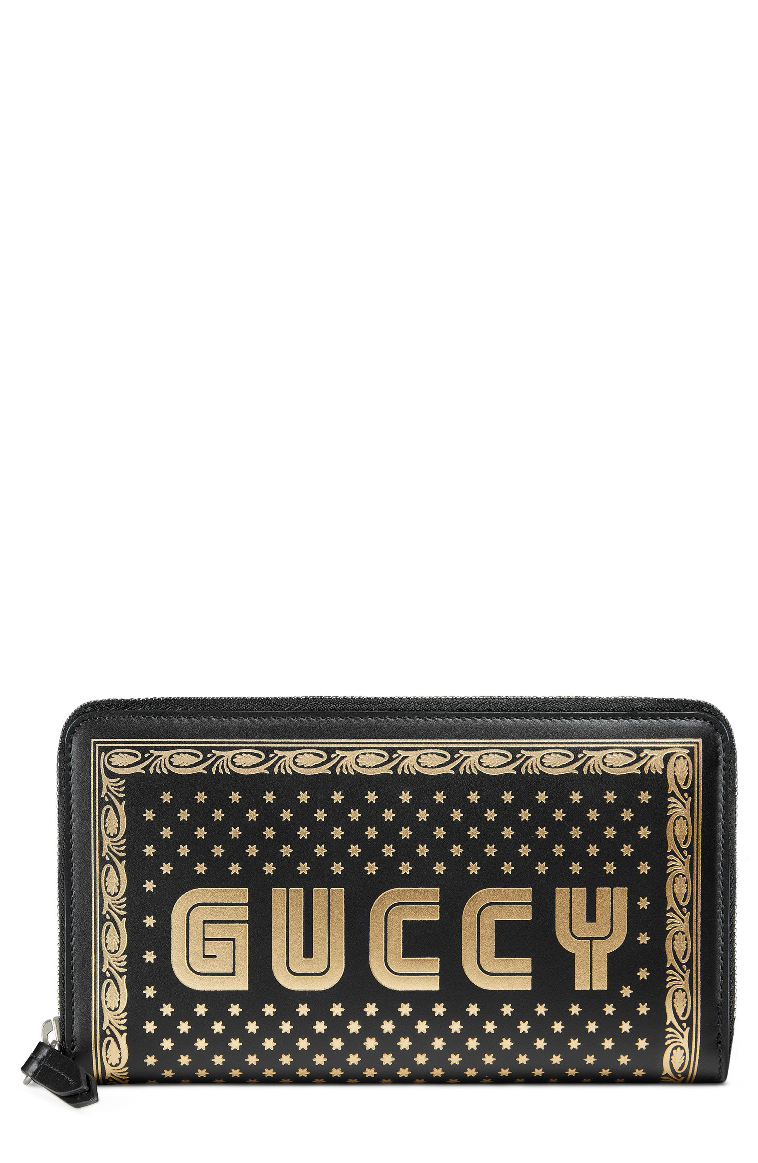 Guccy Logo Moon & Stars Leather Zip Around Wallet,                             Main thumbnail 1, color,                             Nero/ Oro