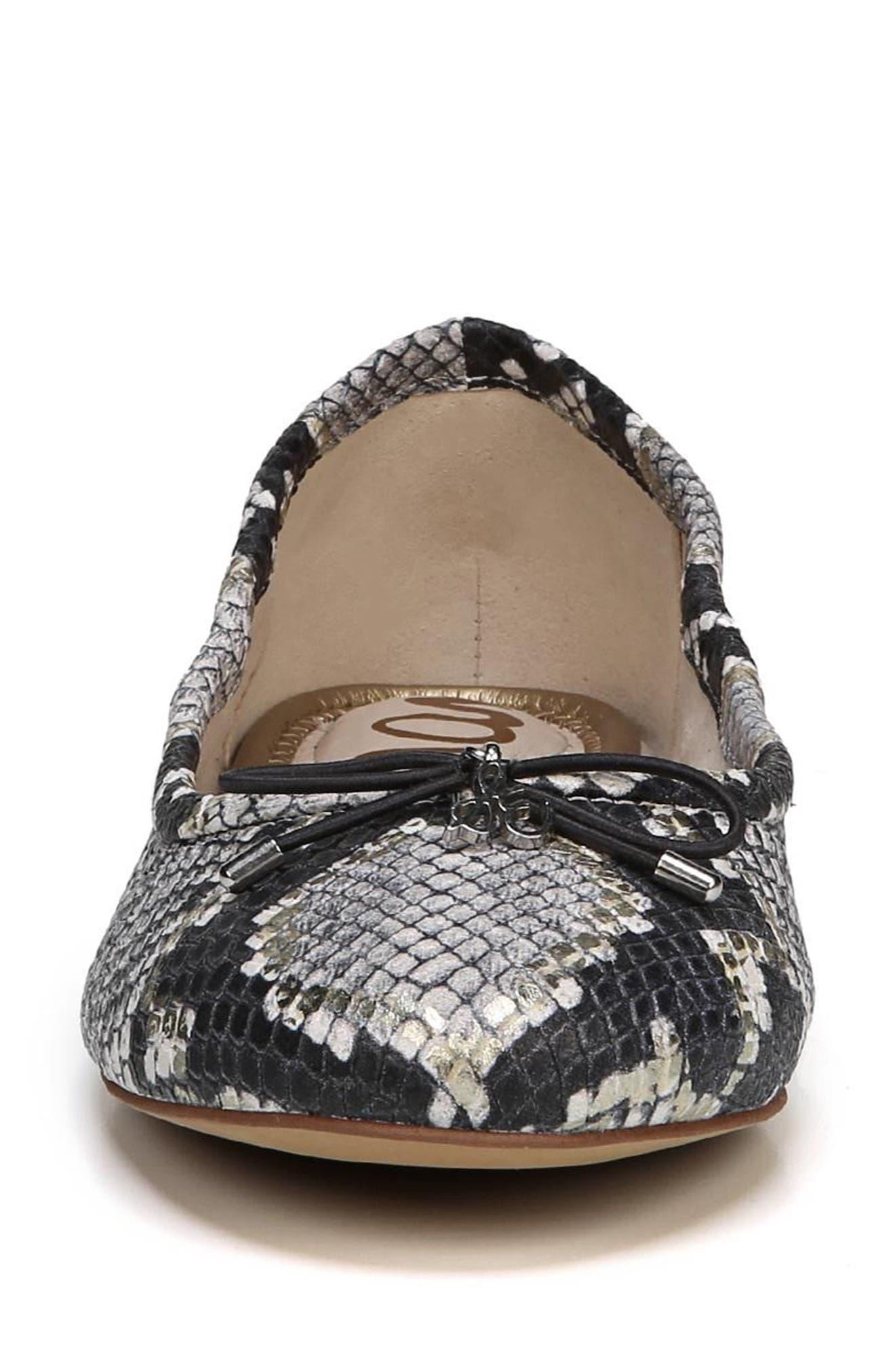 Felicia Flat,                             Alternate thumbnail 3, color,                             Grey Snake Print Leather