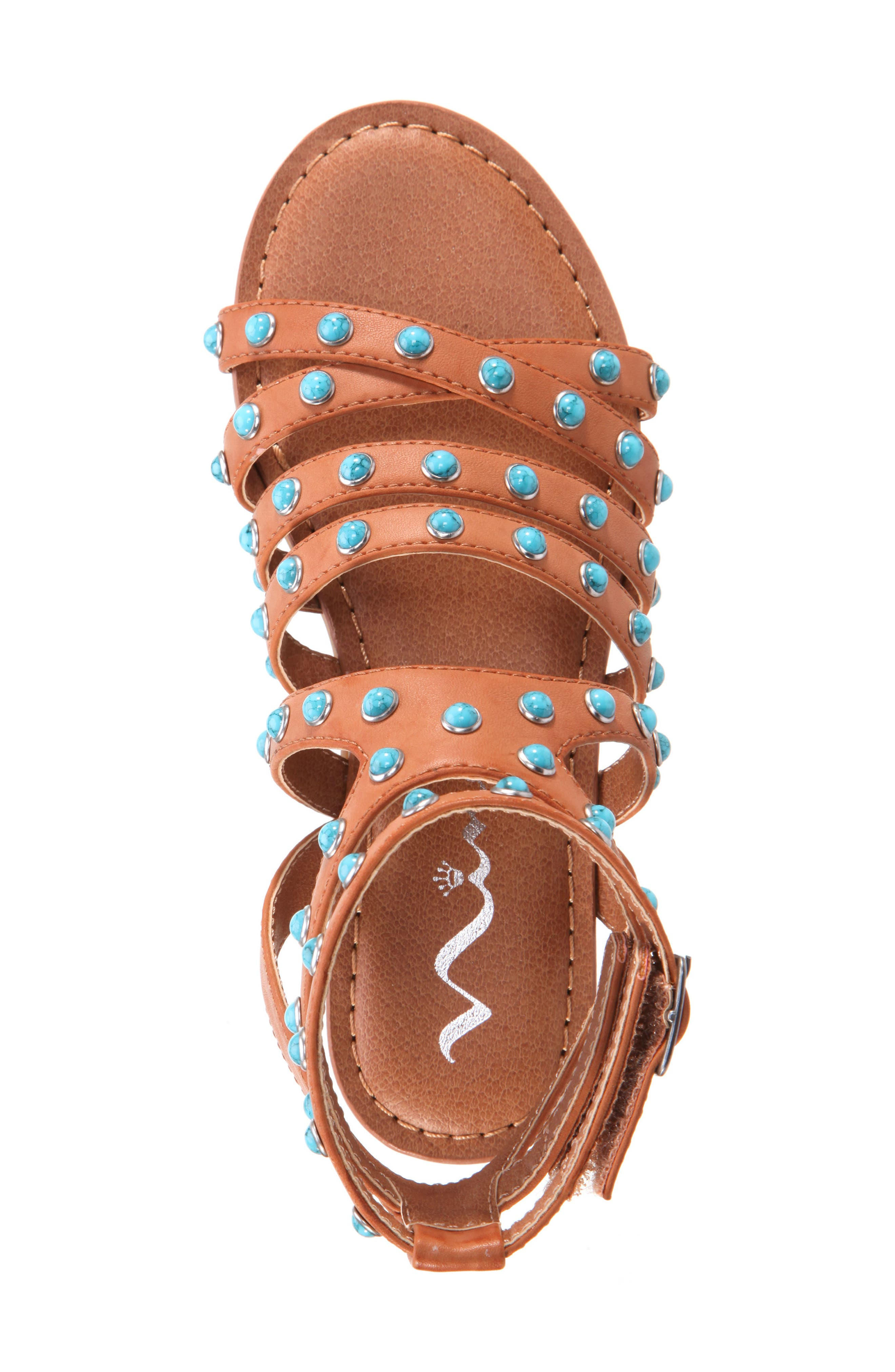 Tammara Studded Gladiator Sandal,                             Alternate thumbnail 5, color,                             Tan Burnished