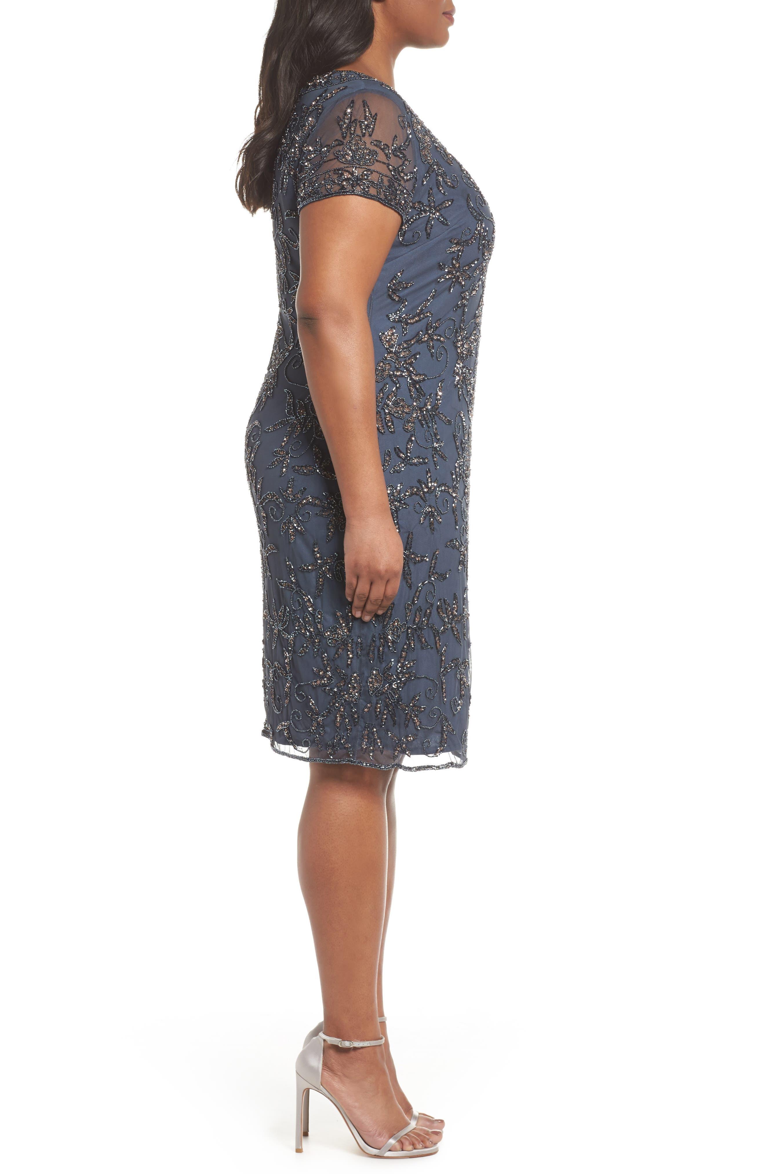 Embellished Sheath Dress,                             Alternate thumbnail 3, color,                             Slate