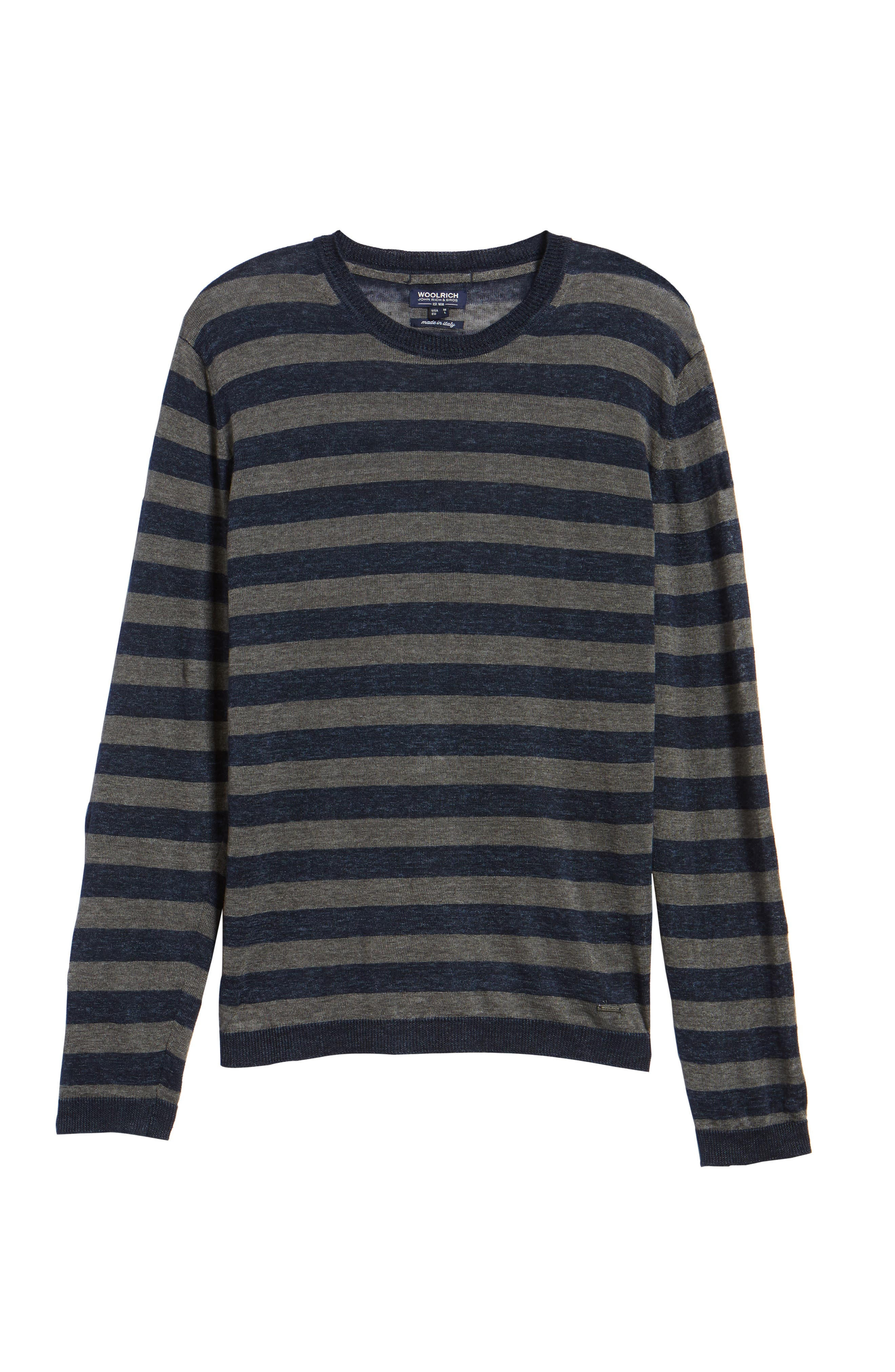 & Bros. Stripe Linen Sweater,                             Alternate thumbnail 6, color,                             Navy Stripe
